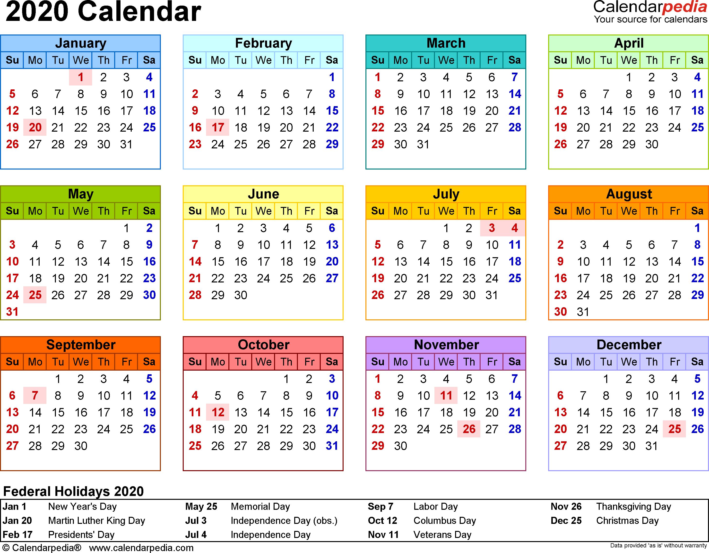 2020 Calendar - 17 Free Printable Word Calendar Templates