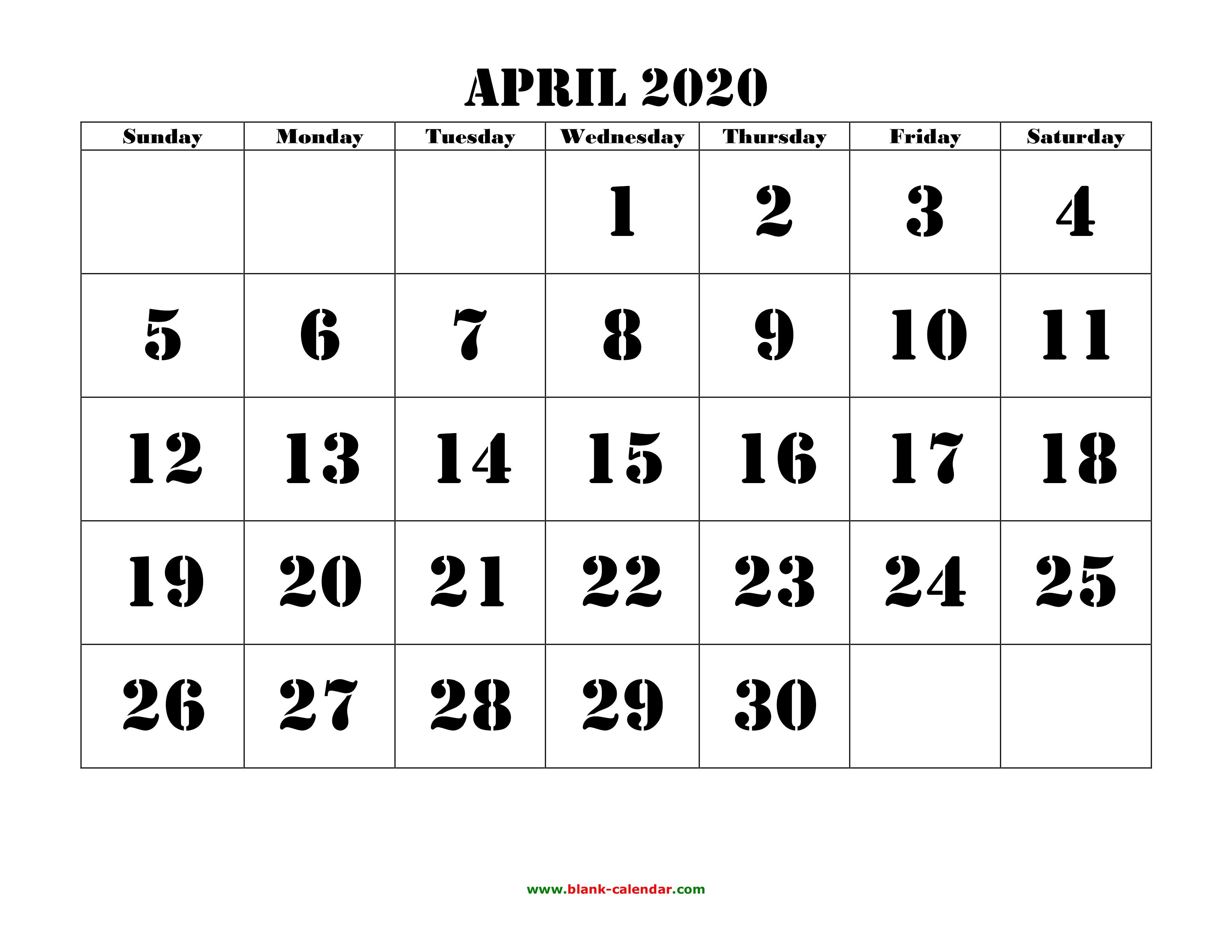 2020 Calendar April