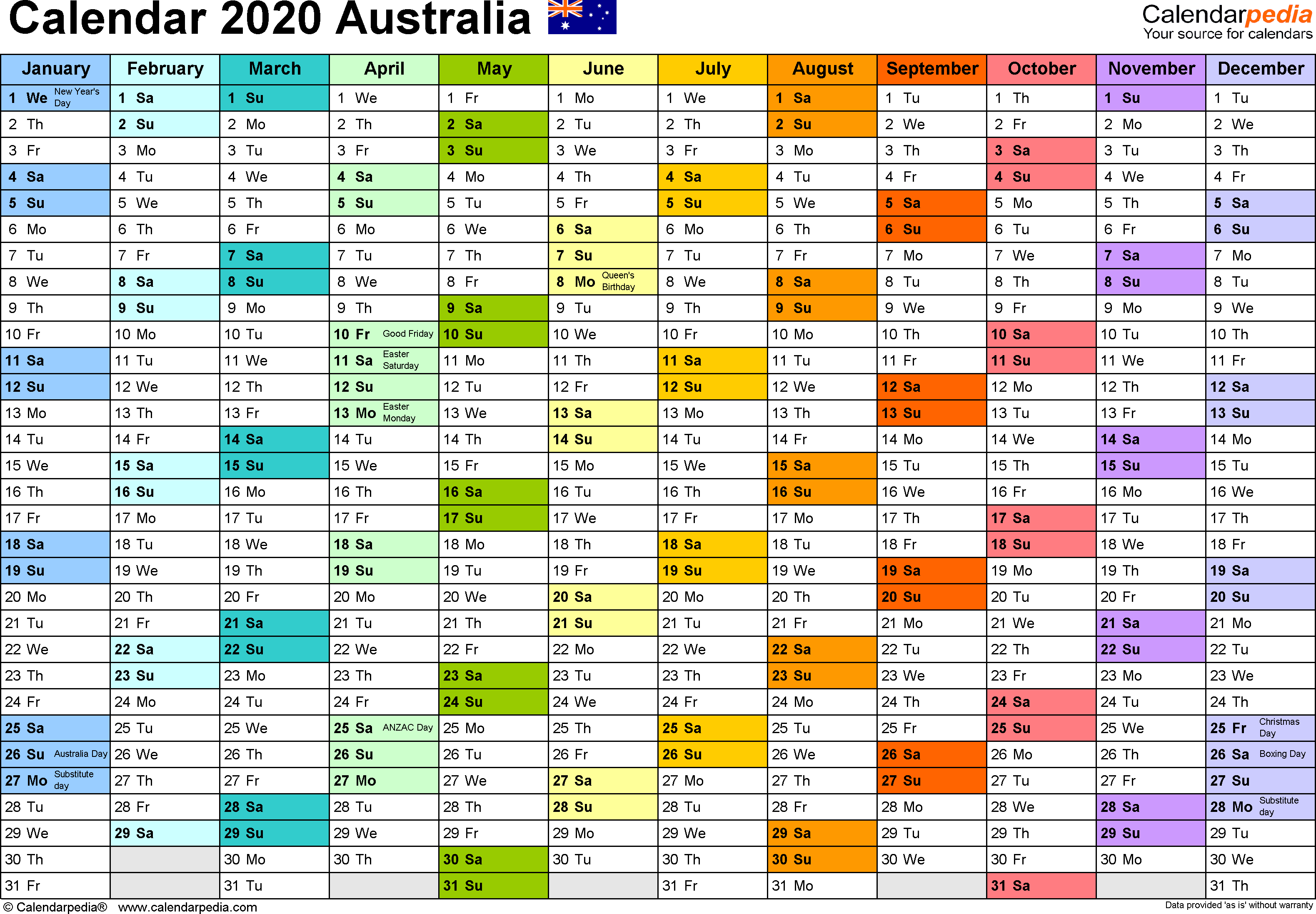 2020 Calendar Aus