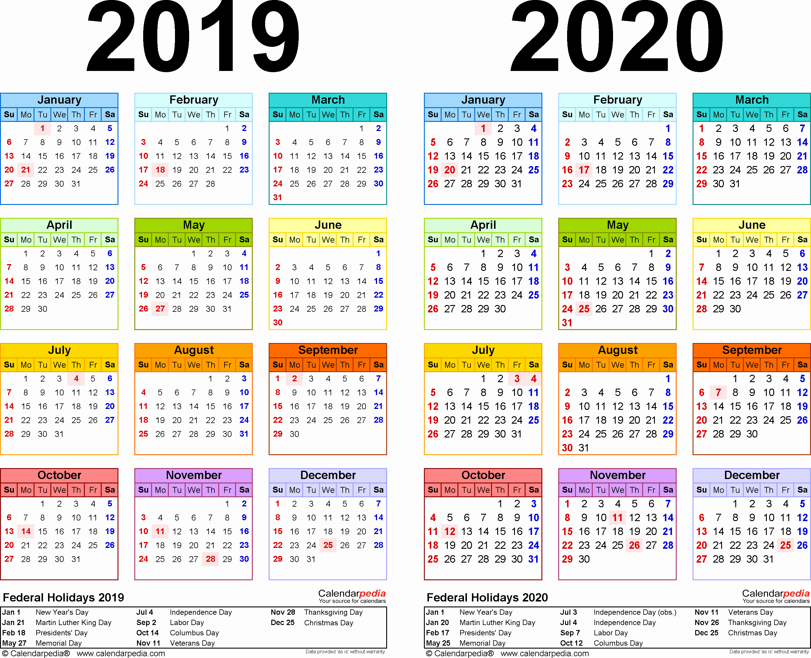 2020 Calendar Bank Holidays
