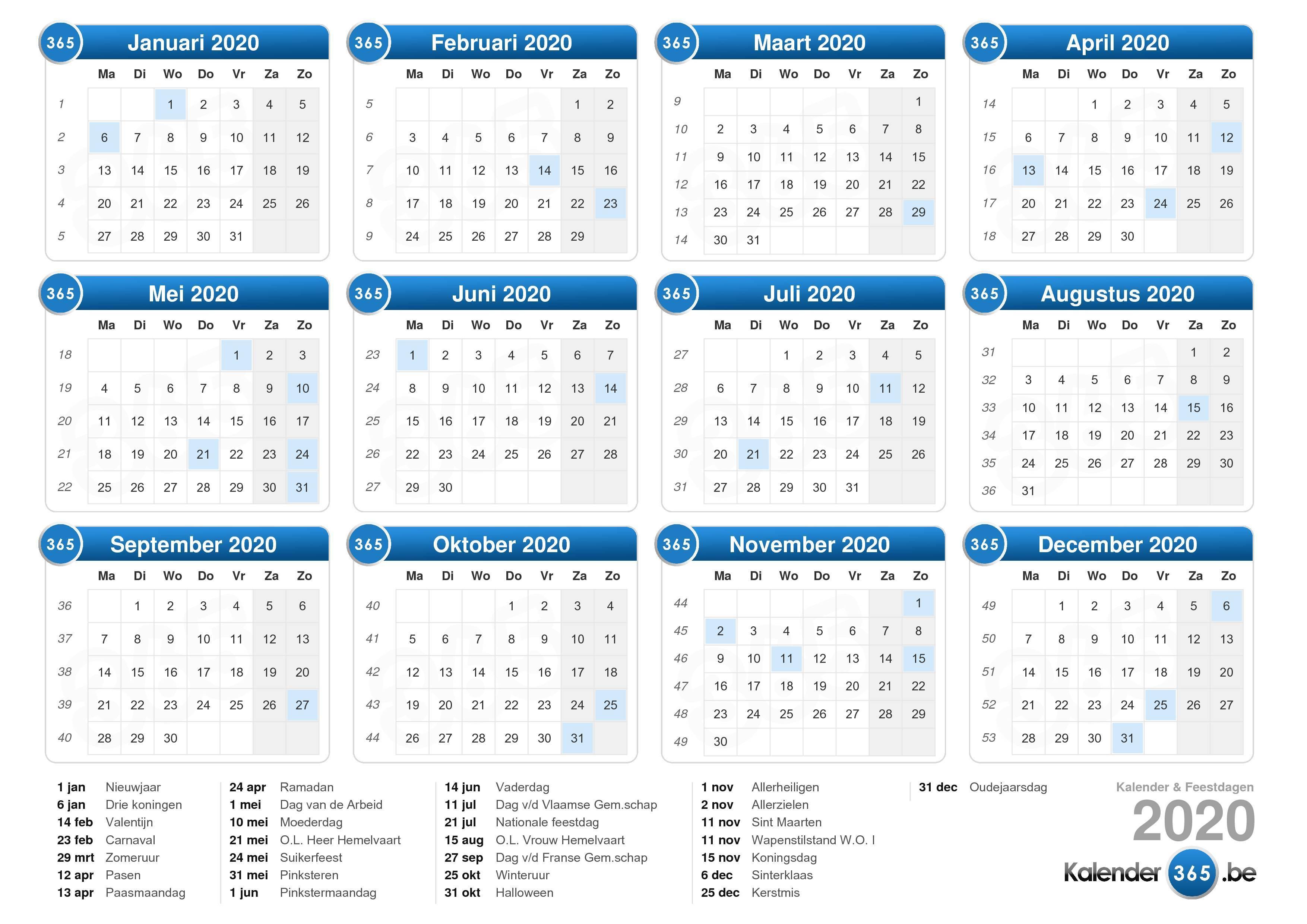 2020 Calendar Belgium