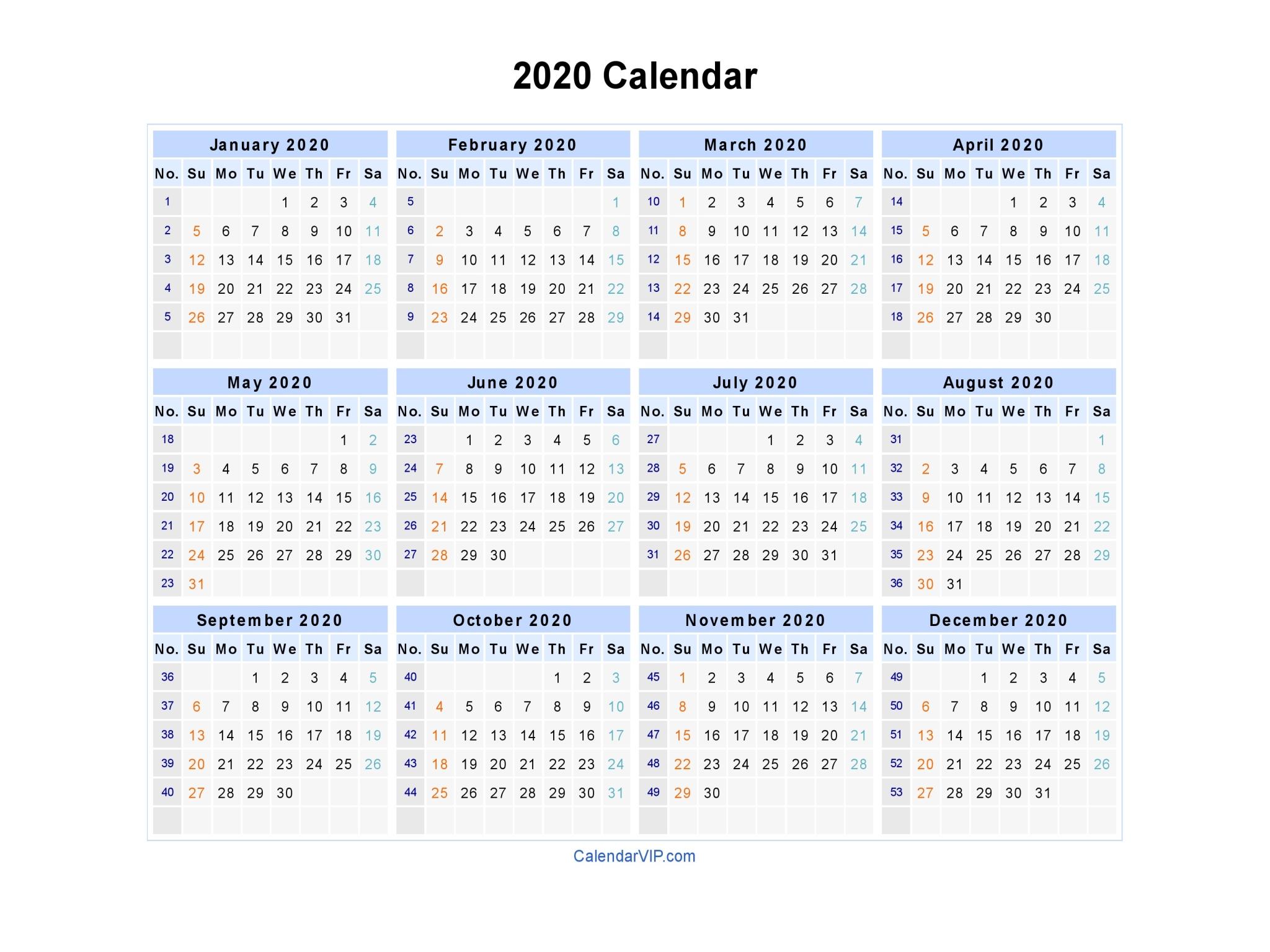 2020 Calendar - Blank Printable Calendar Template In Pdf Word Excel