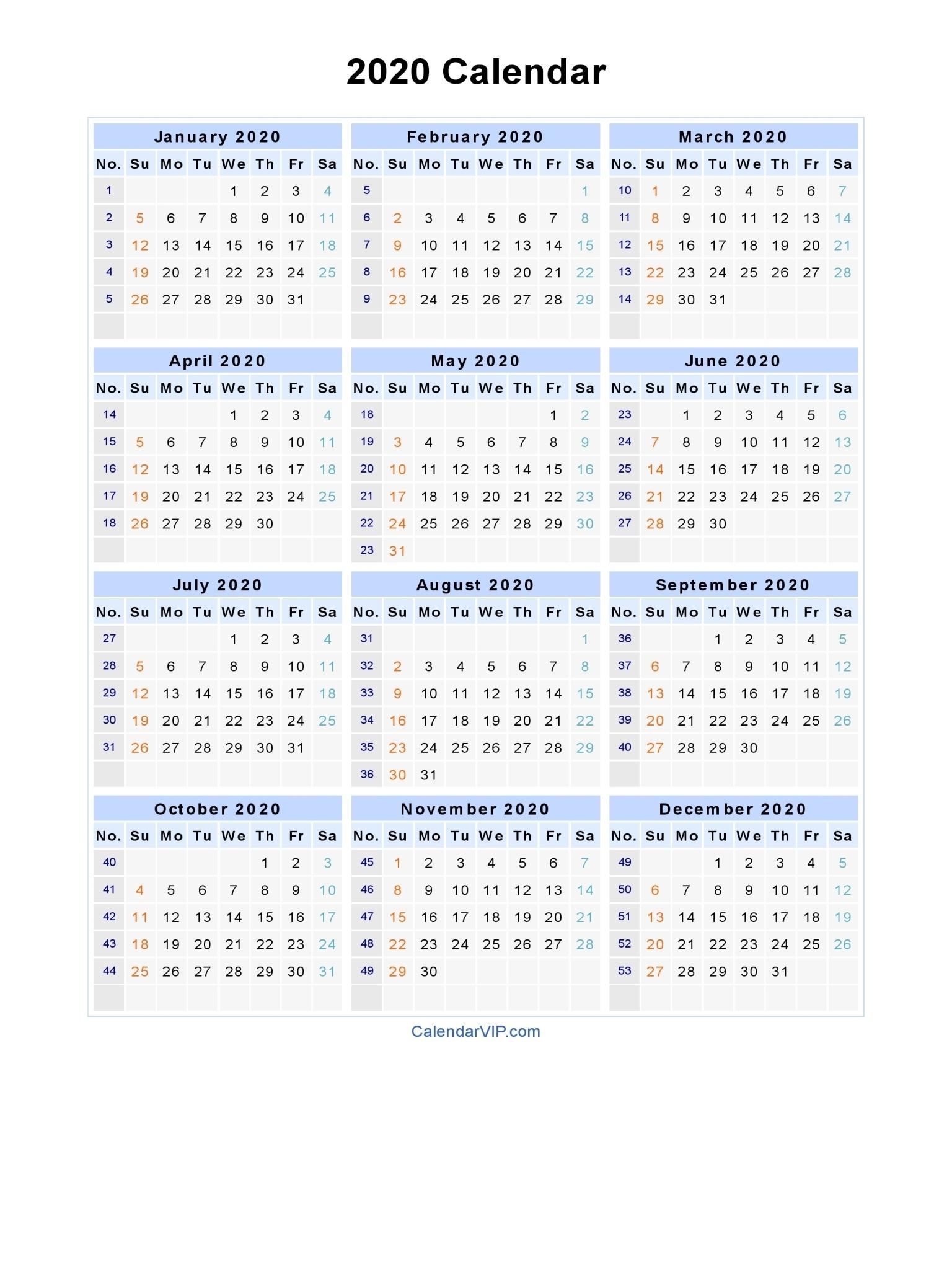 2020 Calendar – Blank Printable Calendar Template In Pdf Word Excel