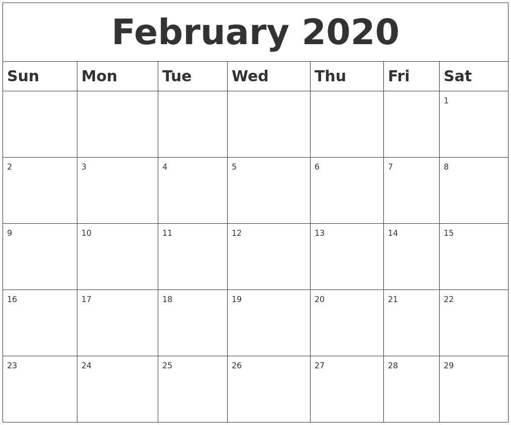 2020 Calendar Blank