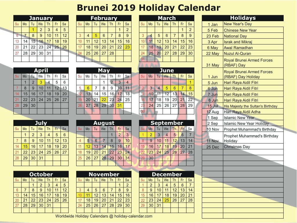 2020 Calendar Brunei