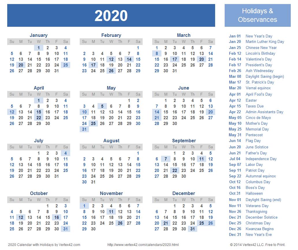 2020 Calendar Canada Printable