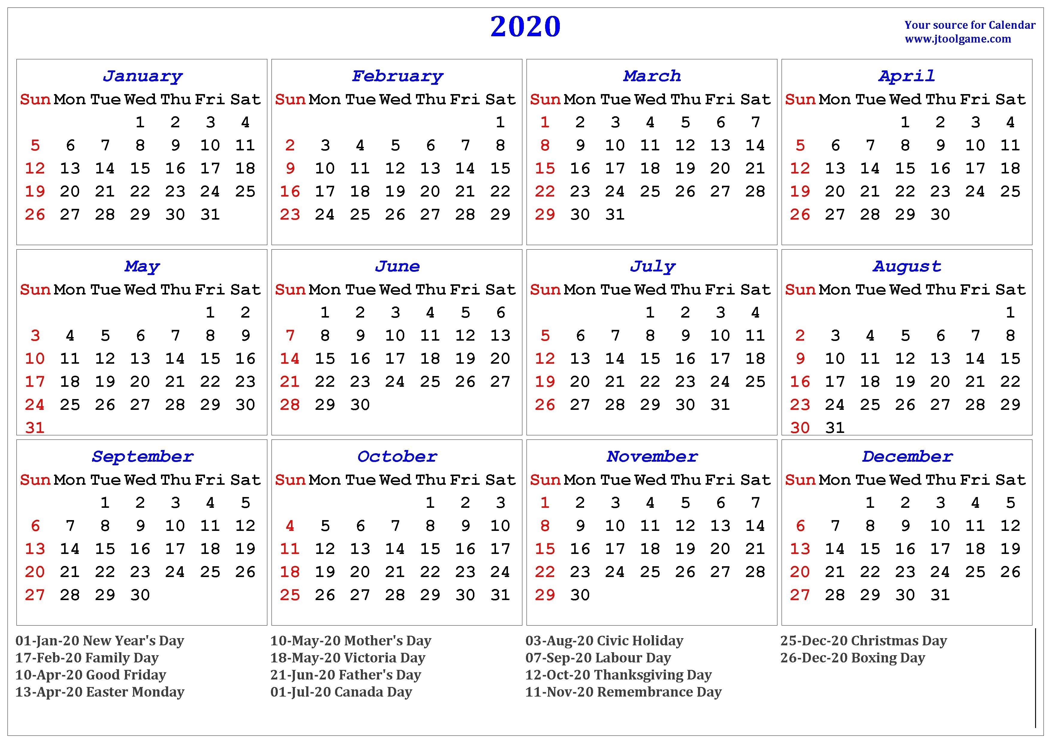 2020 Calendar Canada Stat Holidays