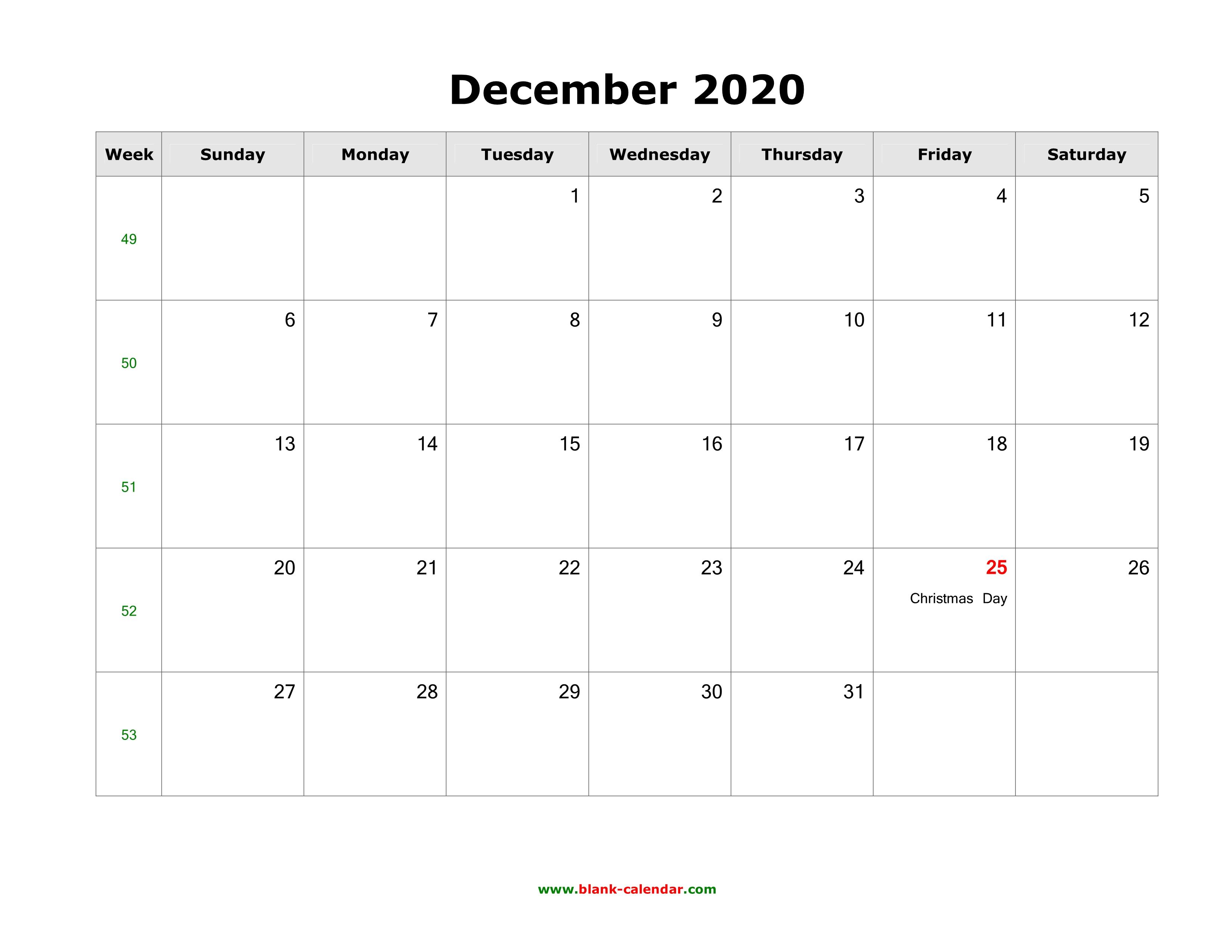 2020 Calendar December