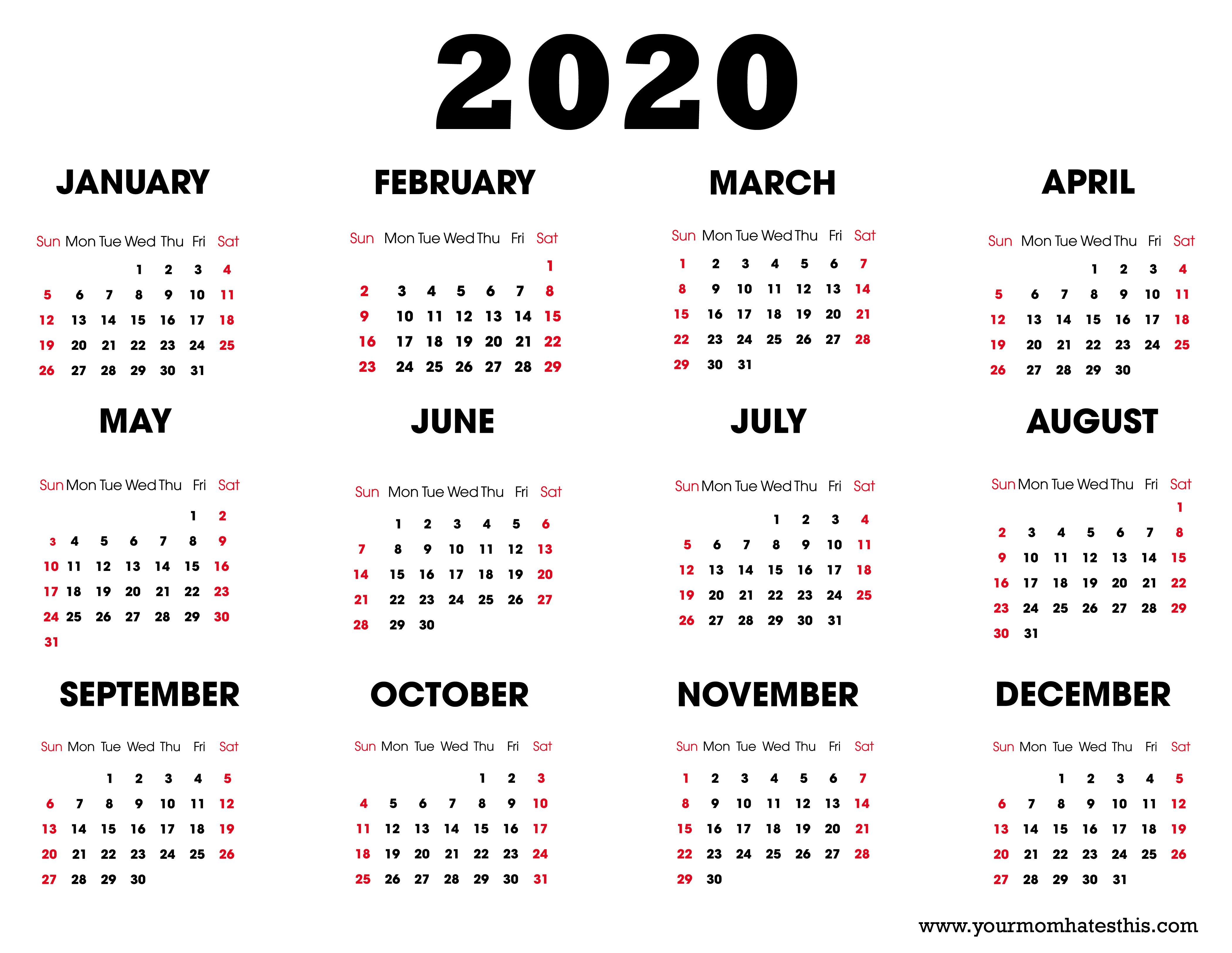 2020 Calendar – Download Printable Calendars
