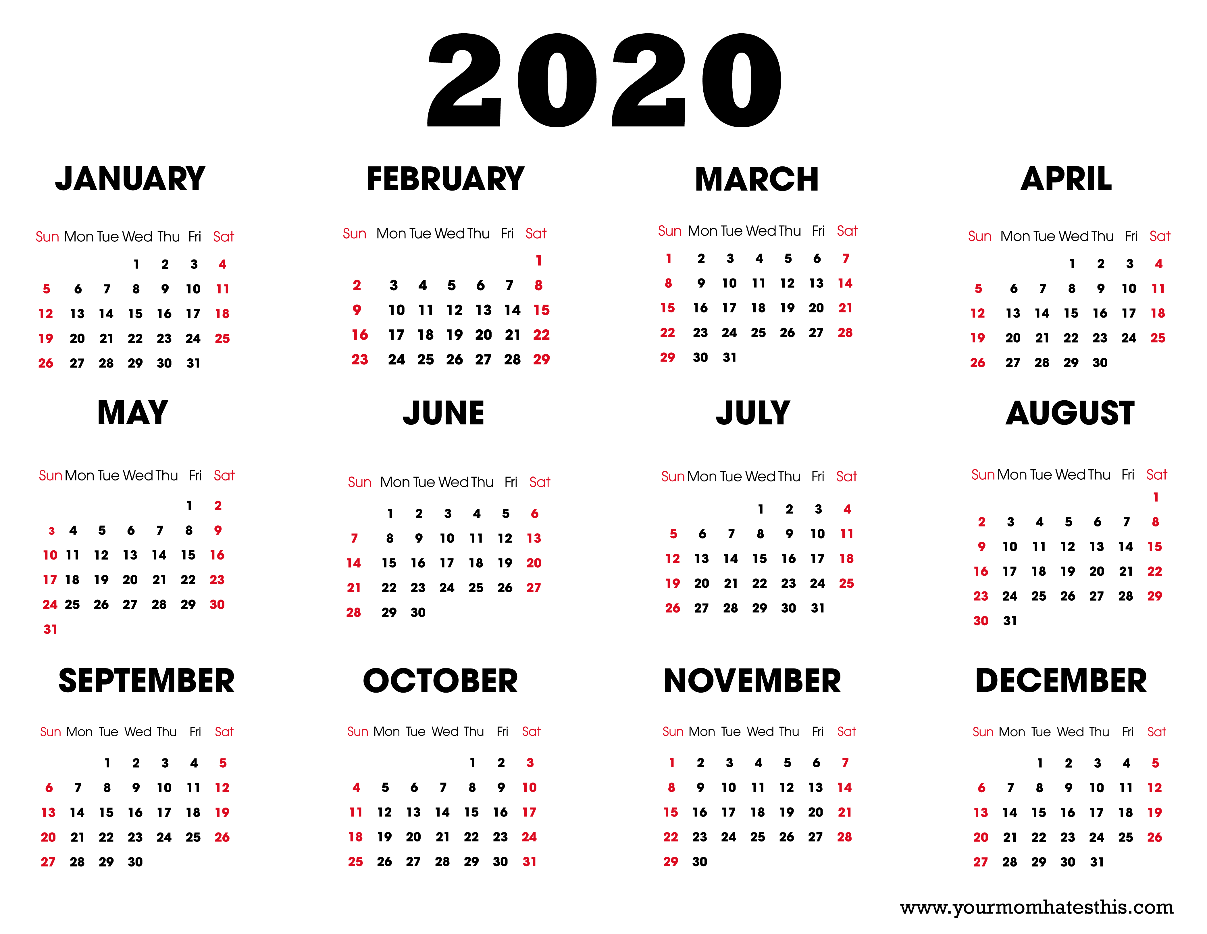 2020 Calendar – Download Printable Calendars