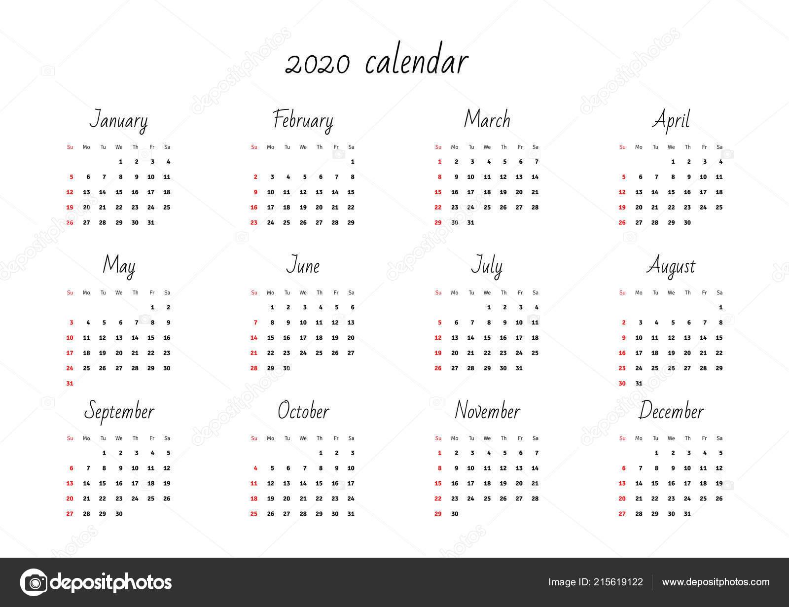 2020 Calendar Eps