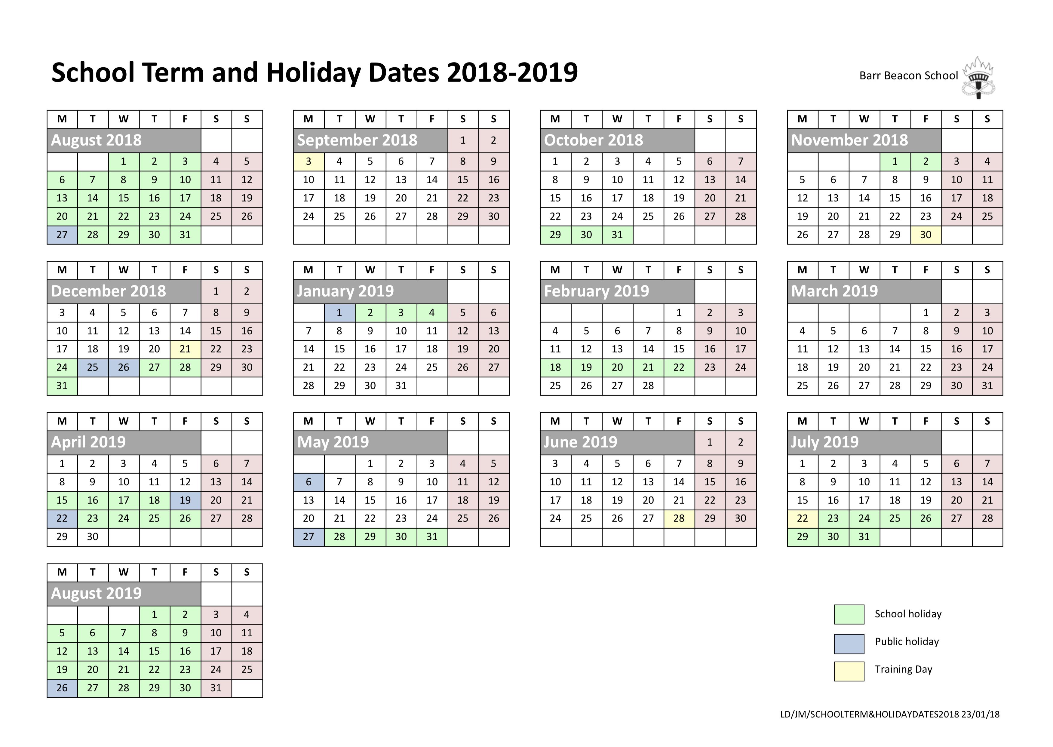 2020 Calendar Events