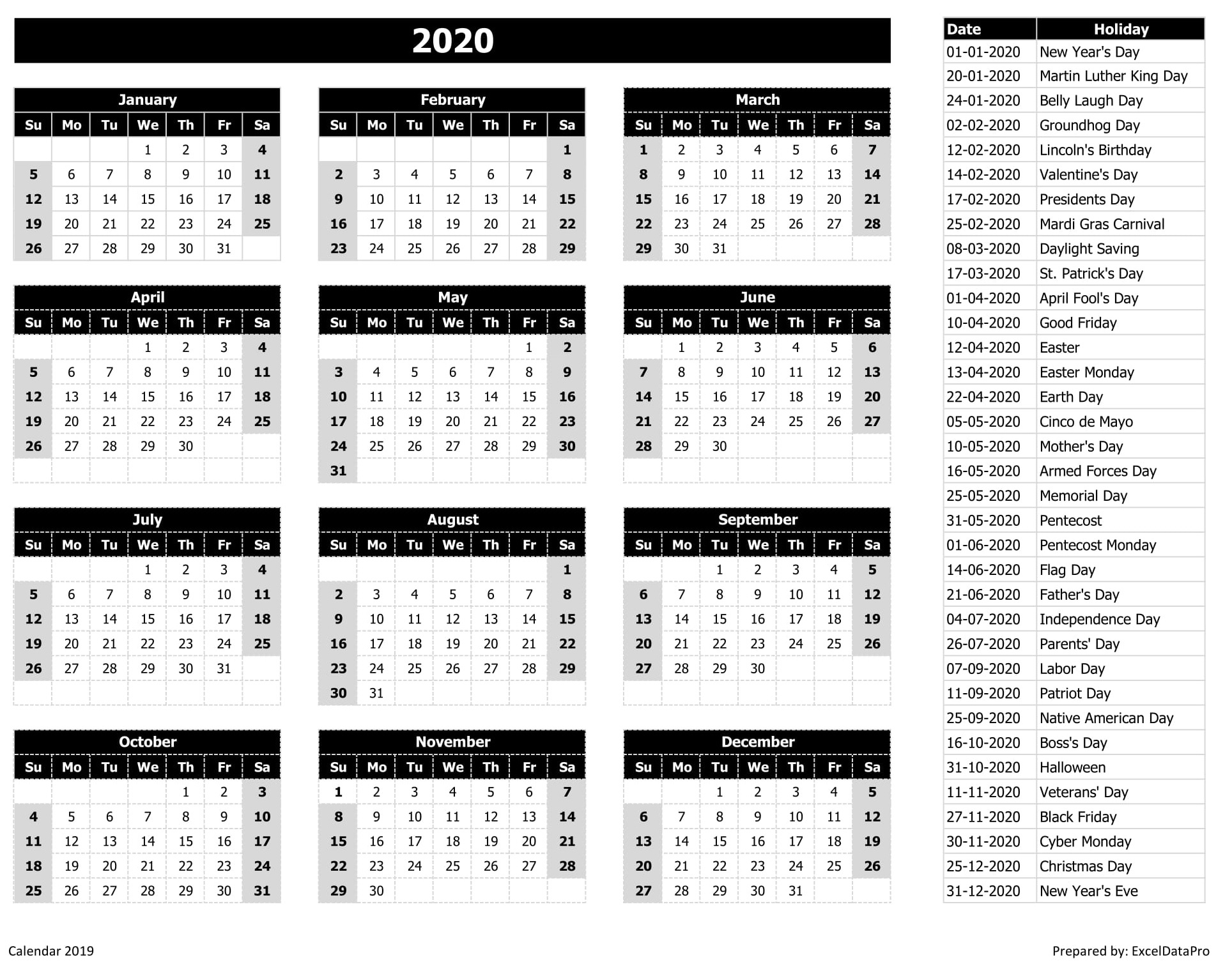 2020 Calendar Excel Templates, Printable Pdfs & Images - Exceldatapro