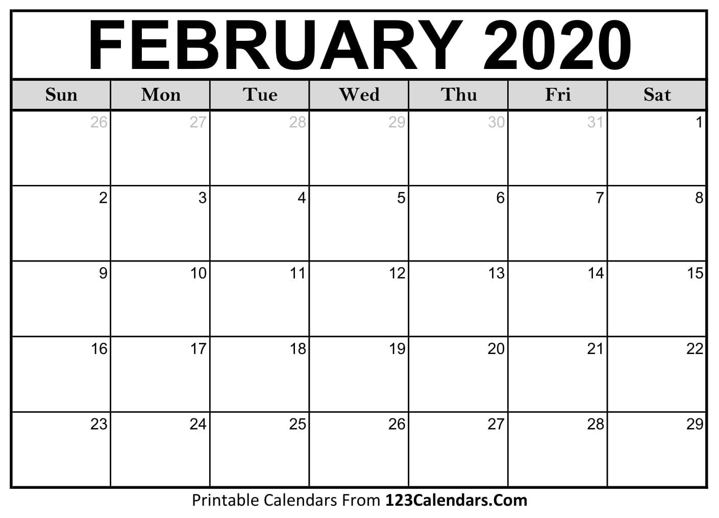 2020 Calendar February