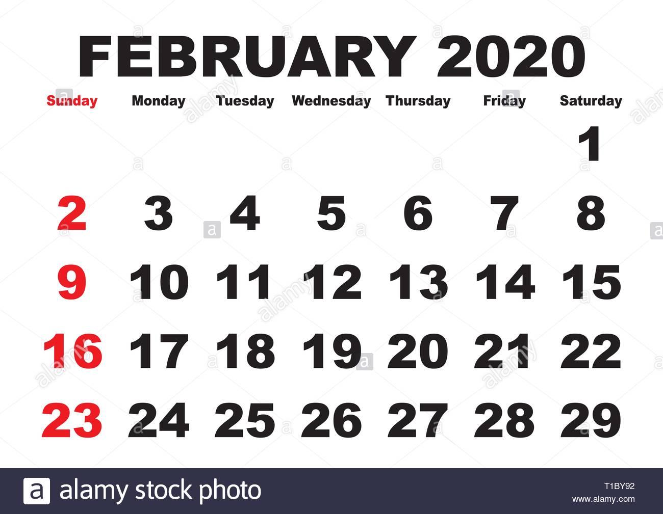 2020 Calendar February Month. Vector Printable Calendar. Monthly