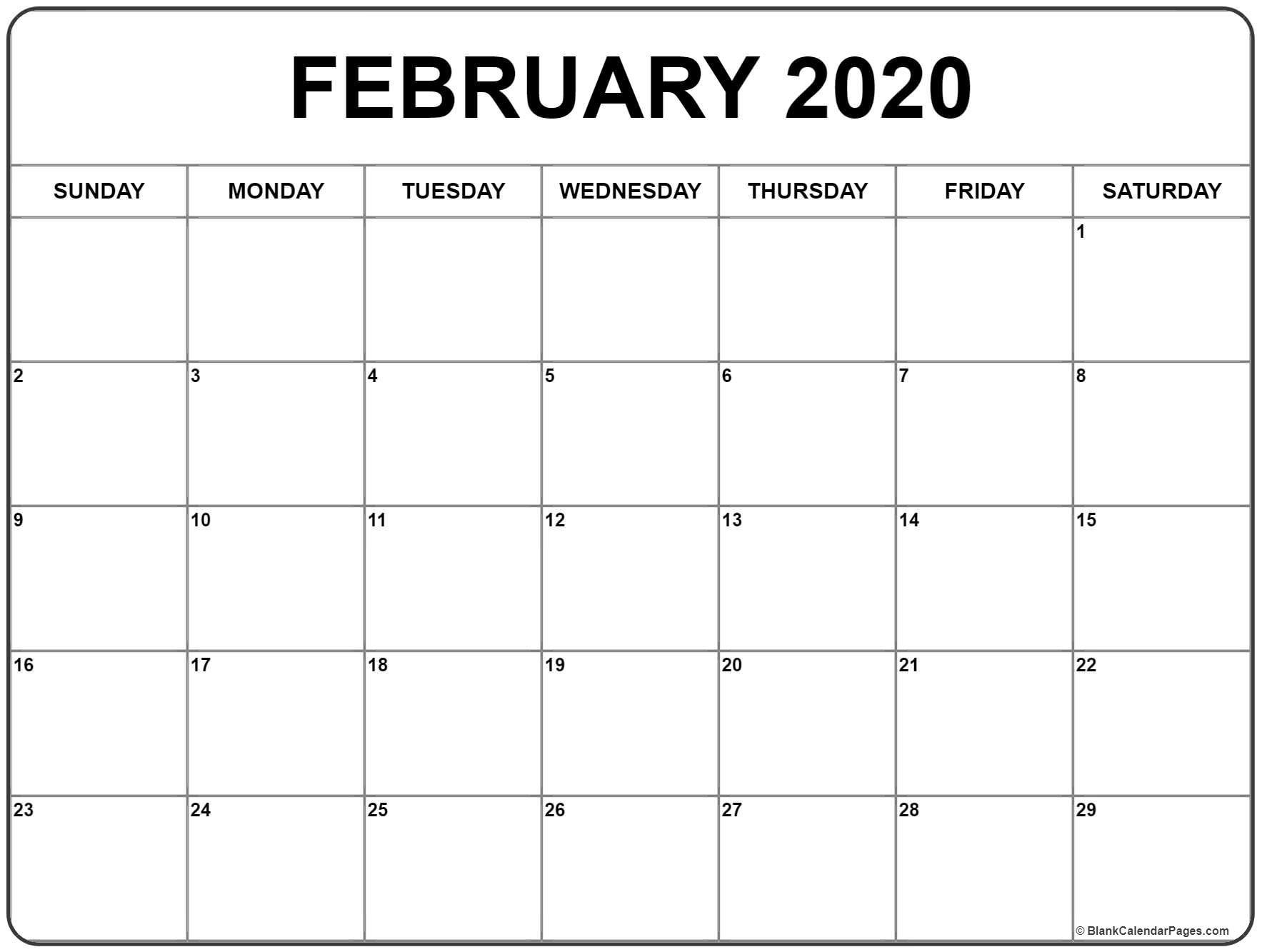 2020 Calendar February Month