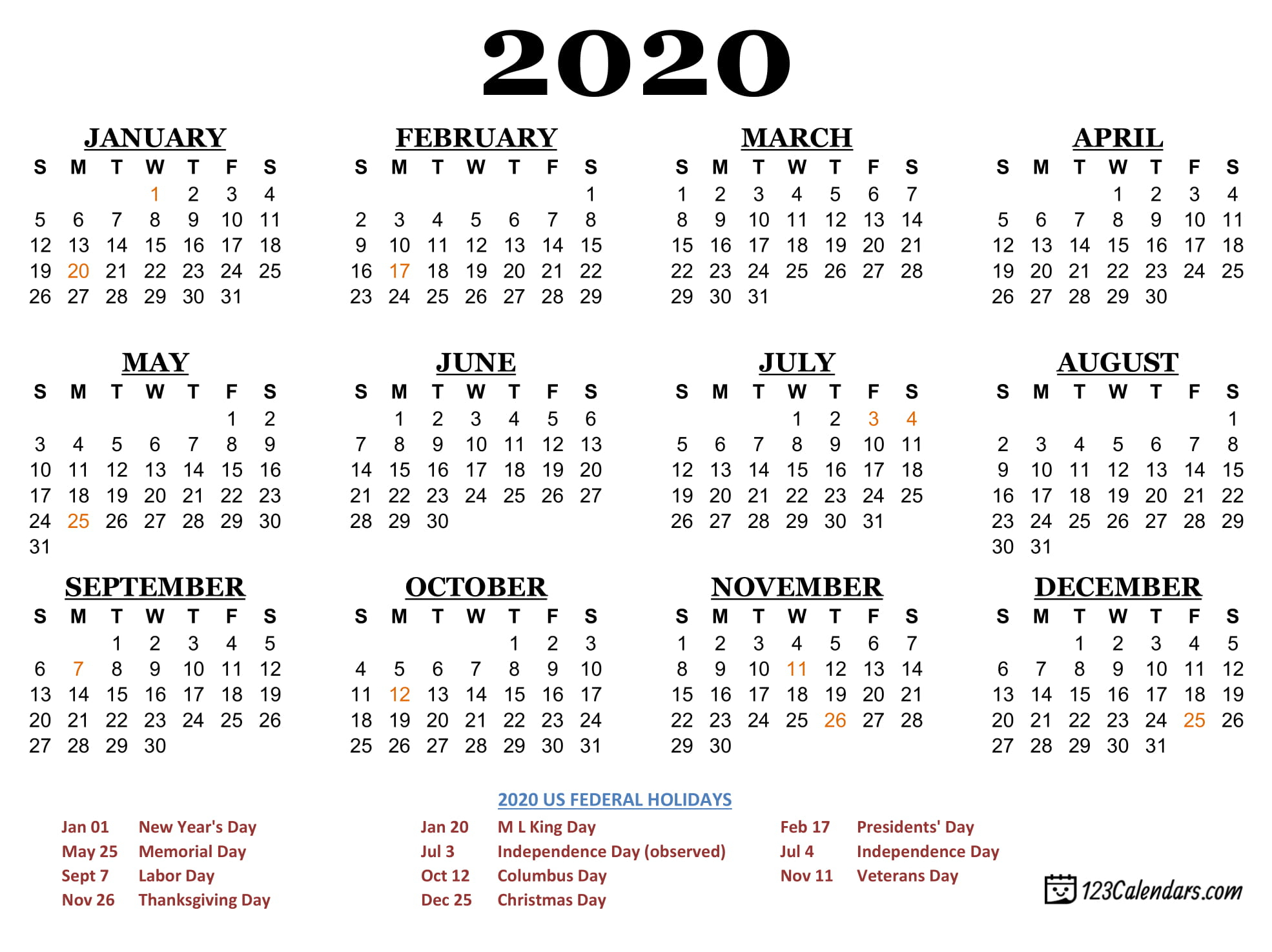 federal holidays usa 2020