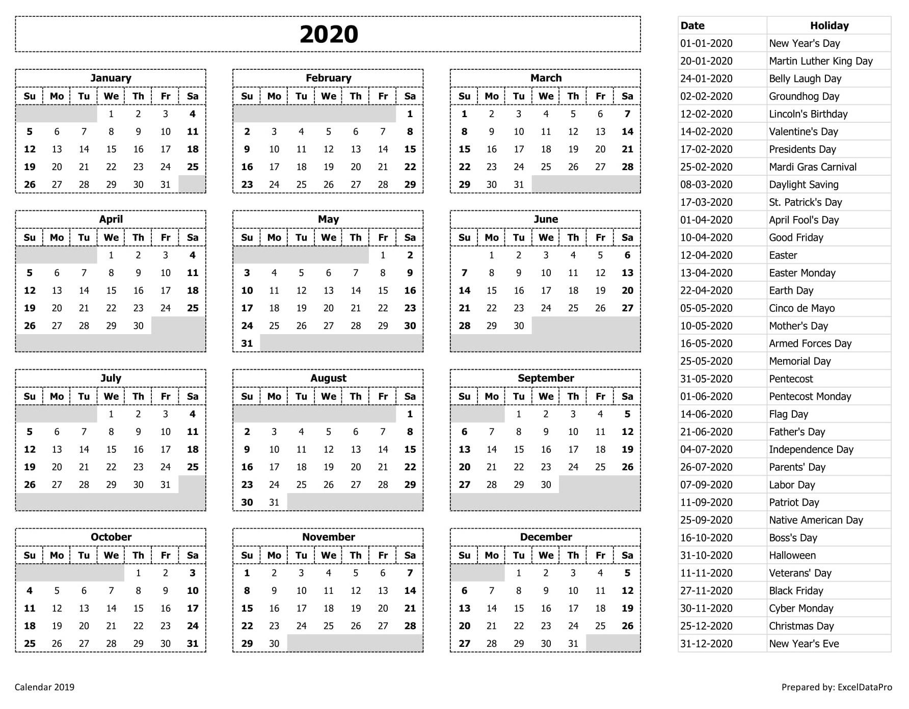 2020 Calendar Festival List