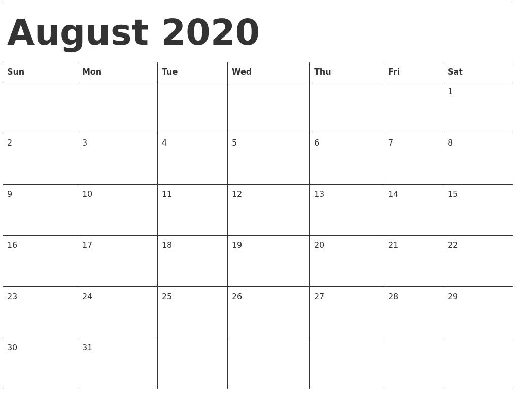 2020 Calendar For August