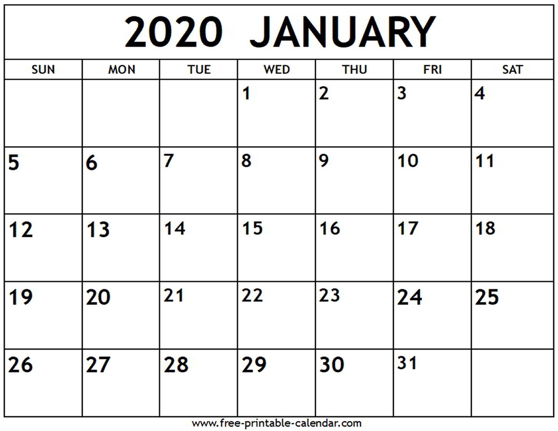2020 Calendar For January