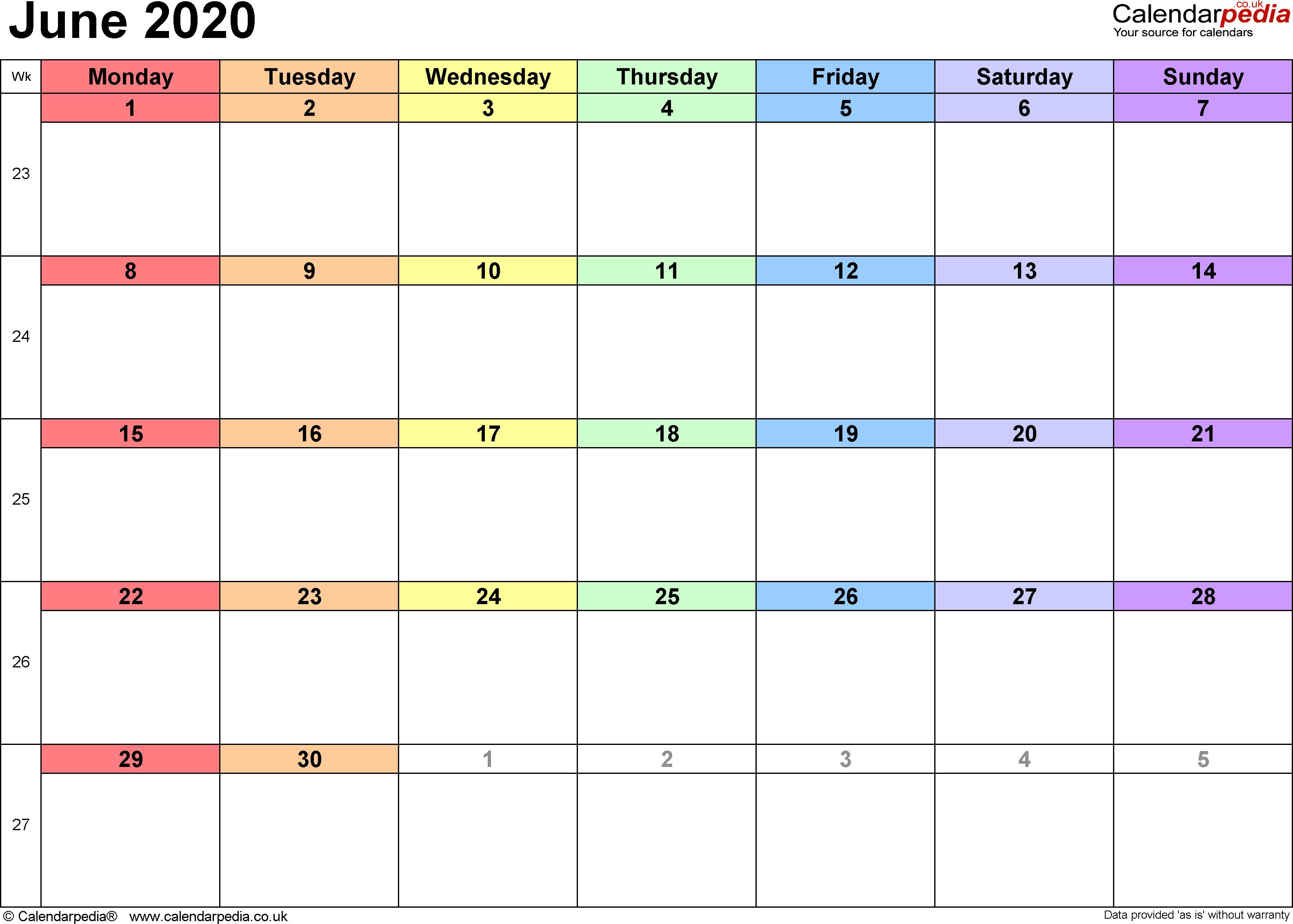 2020 Calendar For June