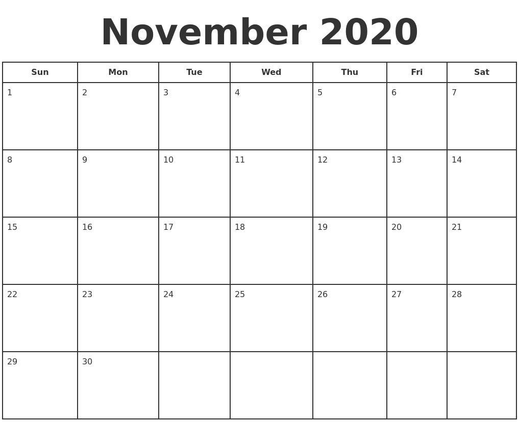 2020 Calendar For November