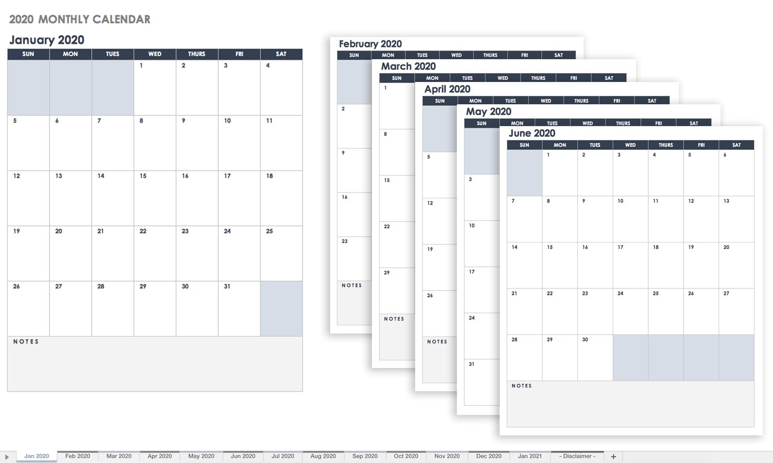 2020 Calendar Google Sheets