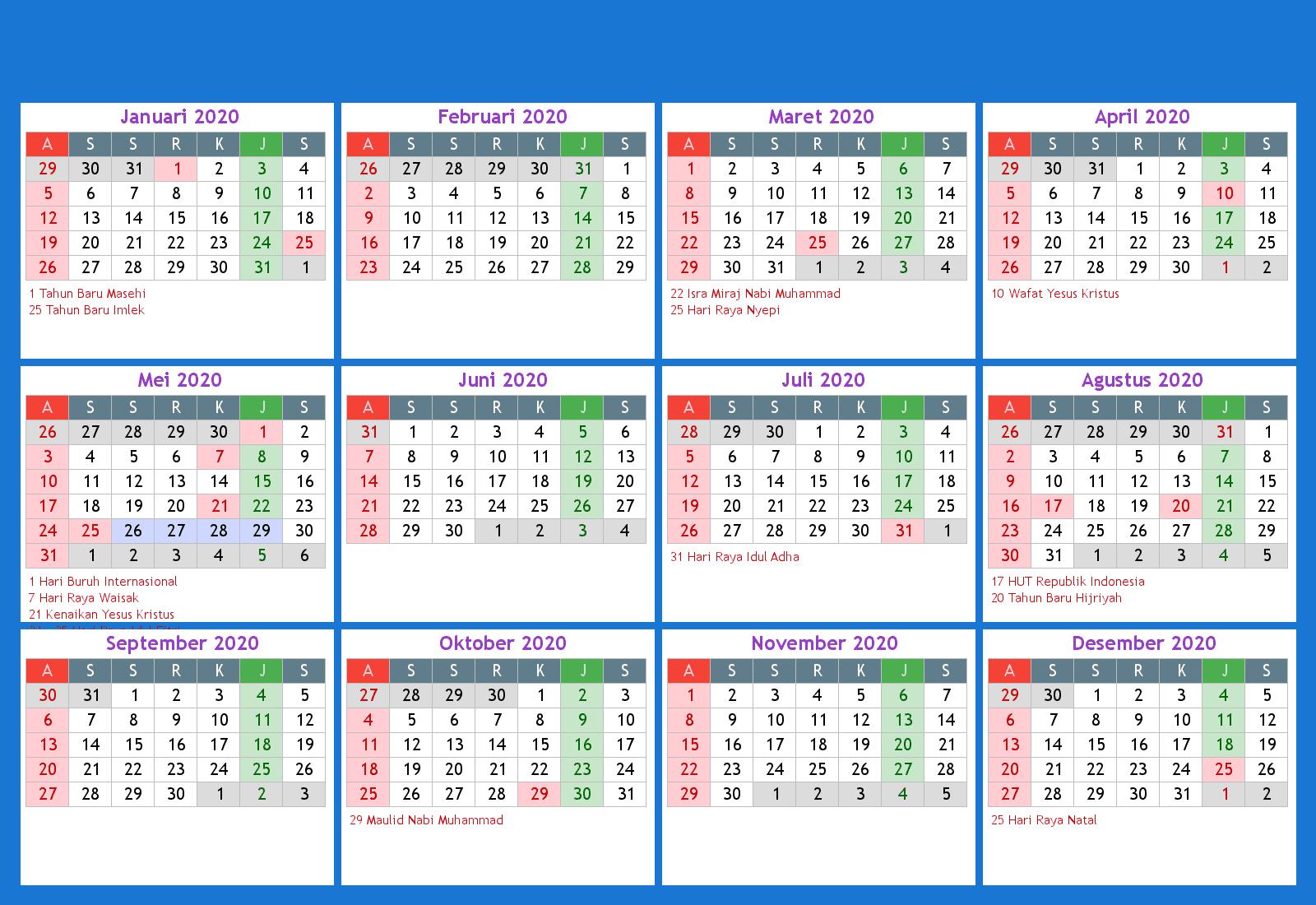 2020 Calendar Hari Raya