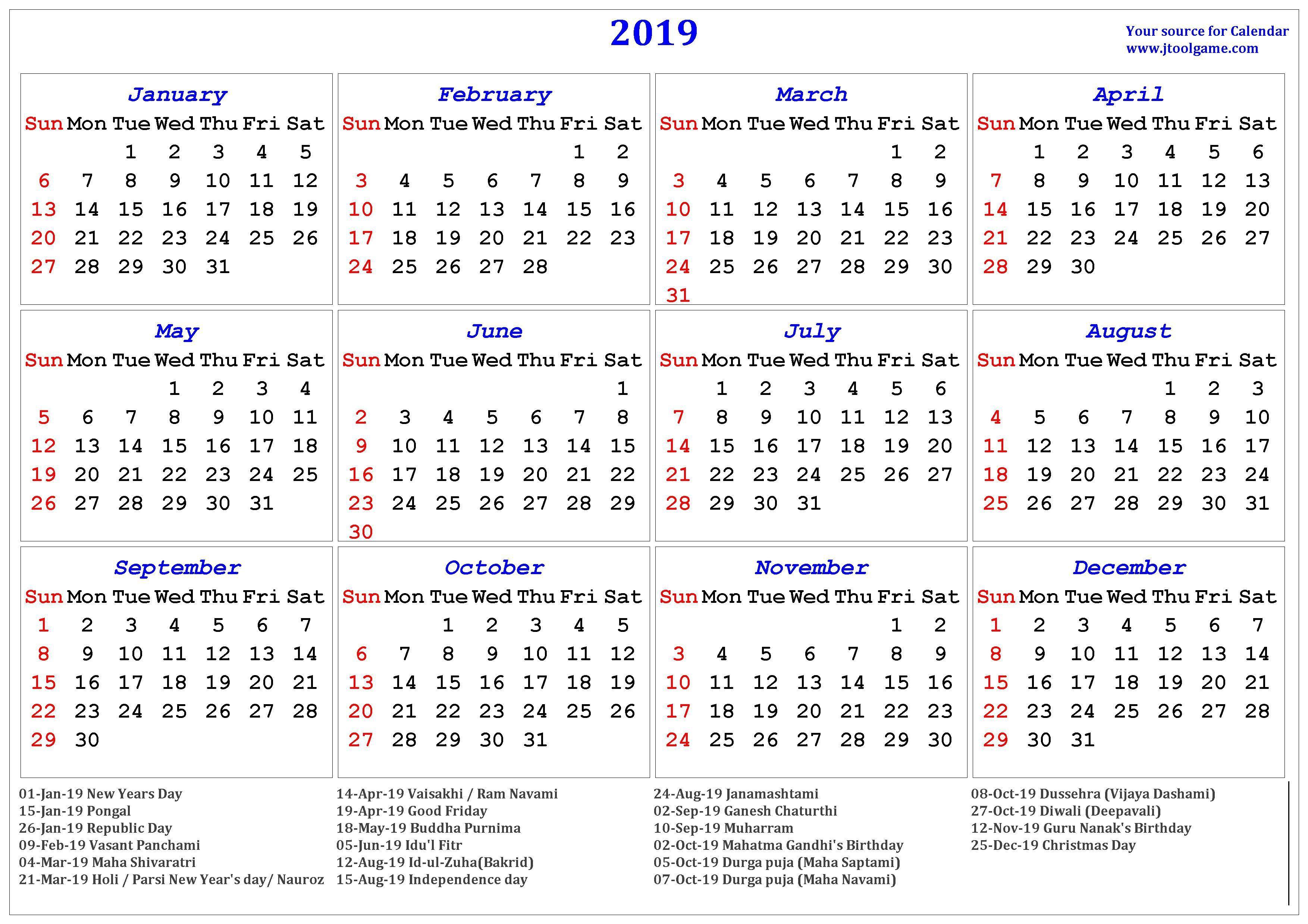 2020 Calendar Hindi