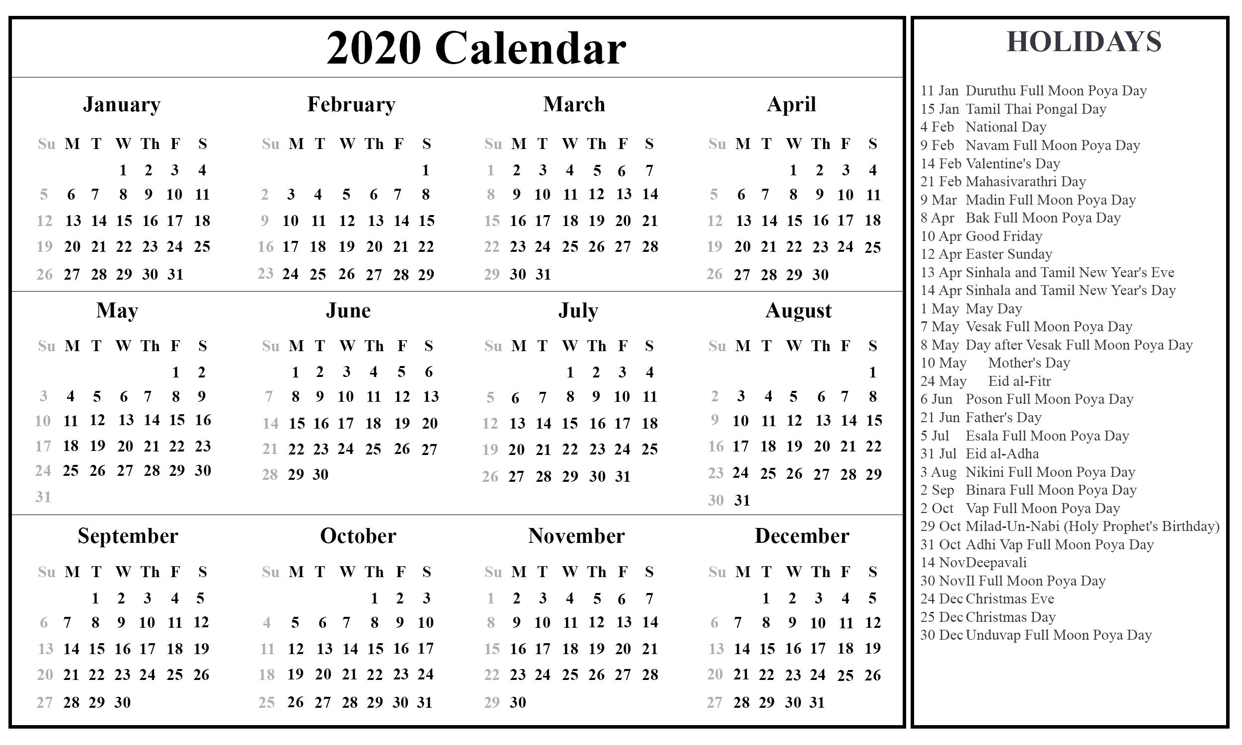 2020 Calendar Holidays