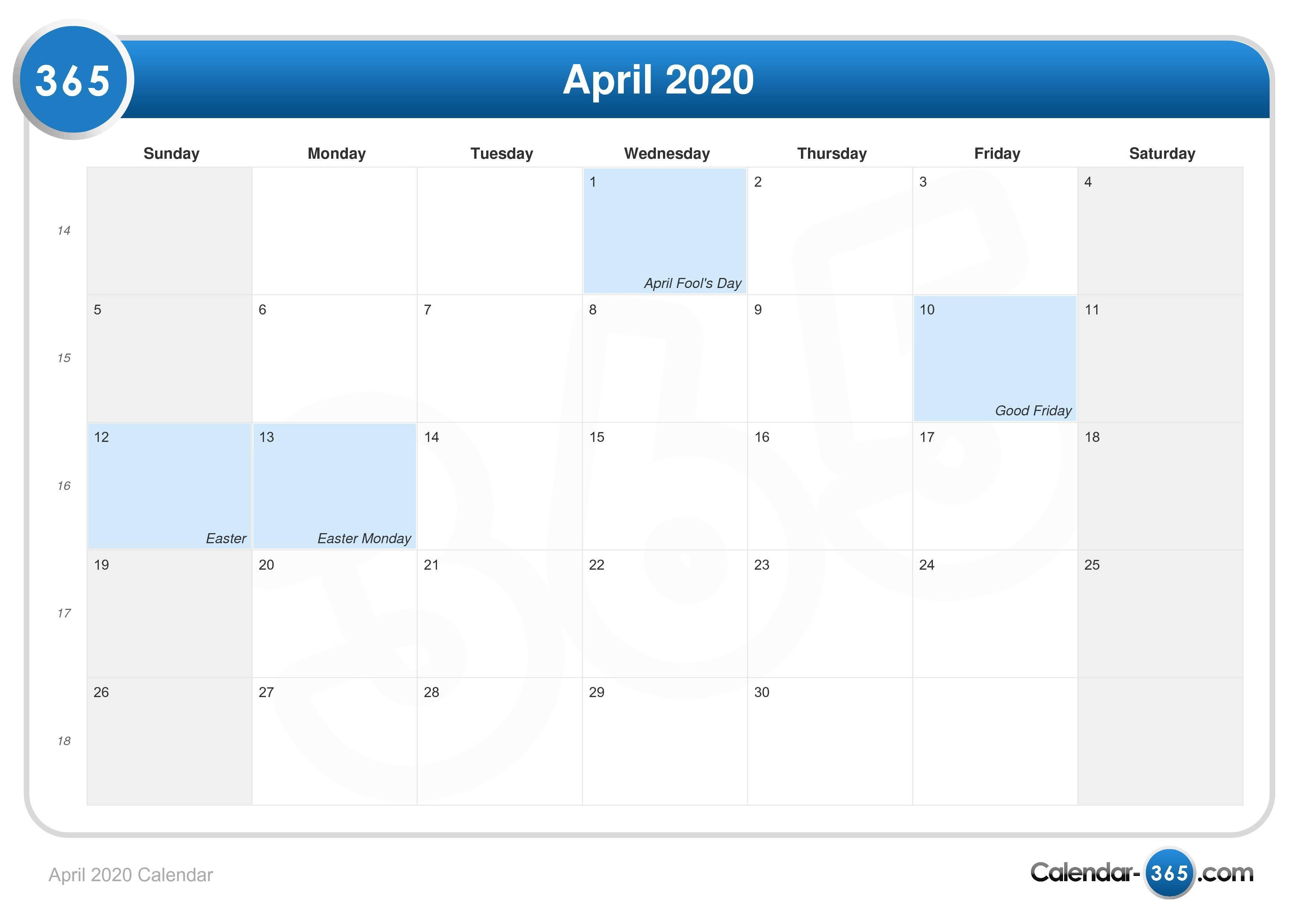 2020 Calendar Holidays Easter