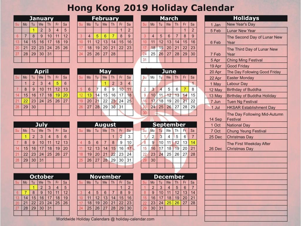 2020 Calendar Hong Kong