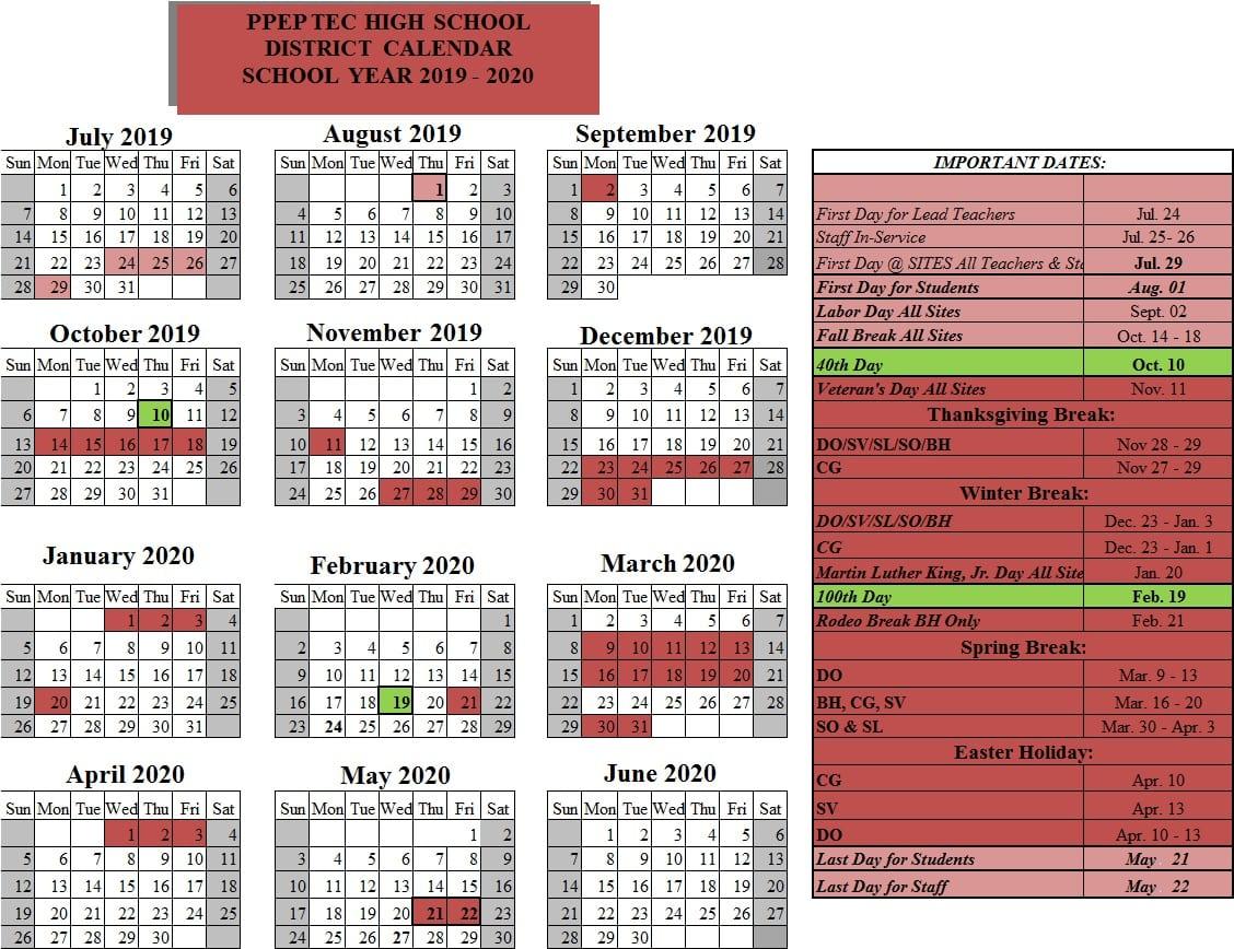 2020 Calendar Important Dates