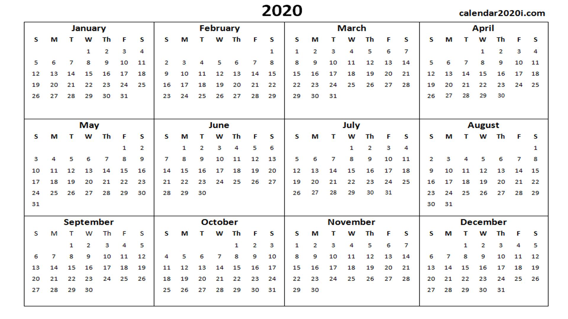 2020 Calendar In Word
