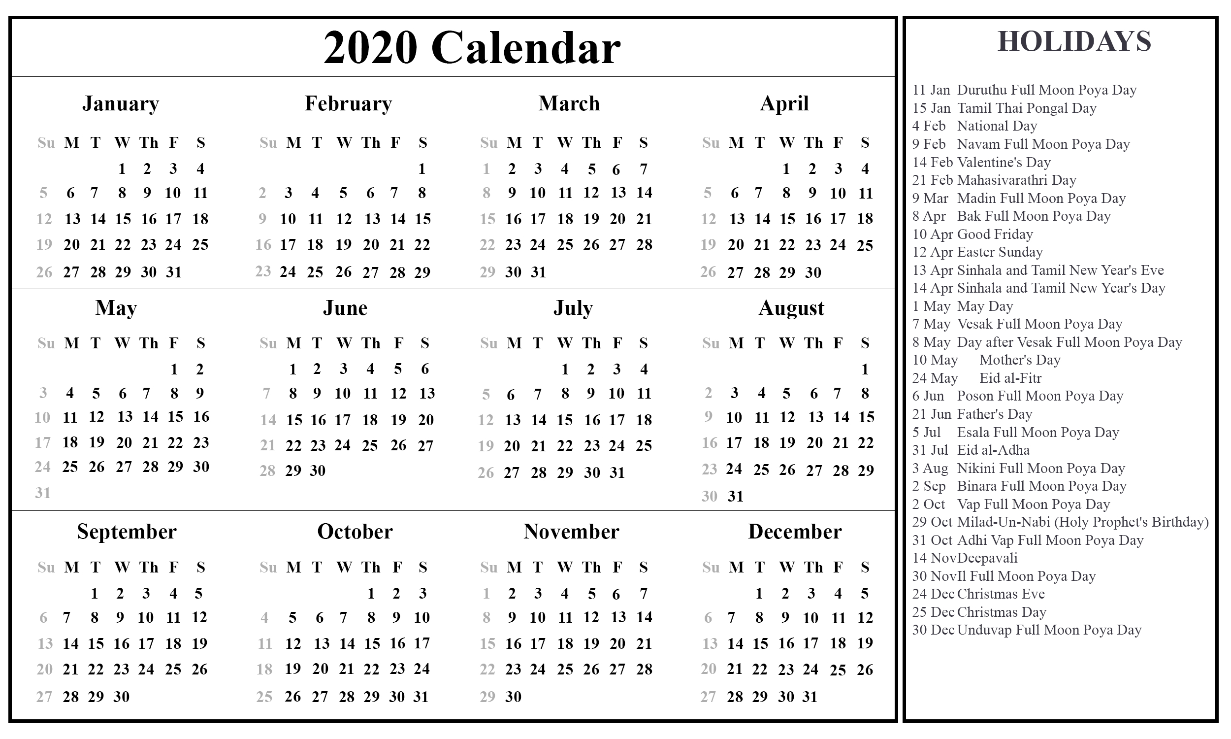 2020 Calendar Including Bank Holidays