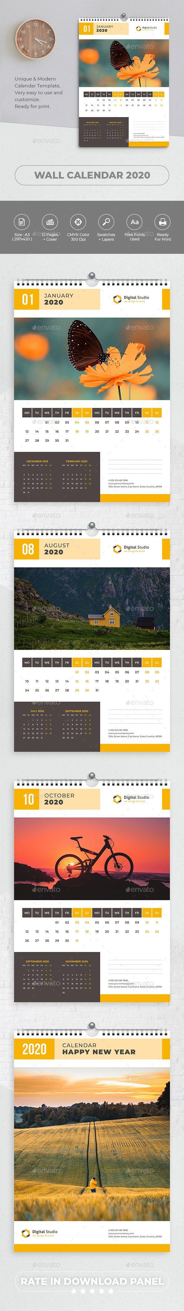 2020 Calendar Indesign