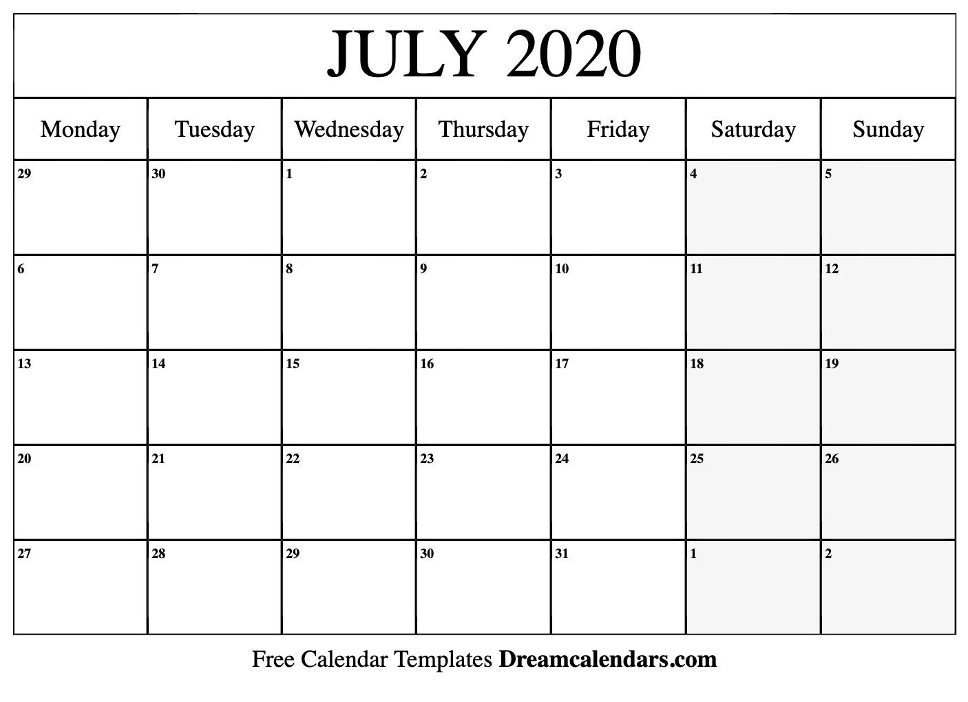 2020 Calendar July