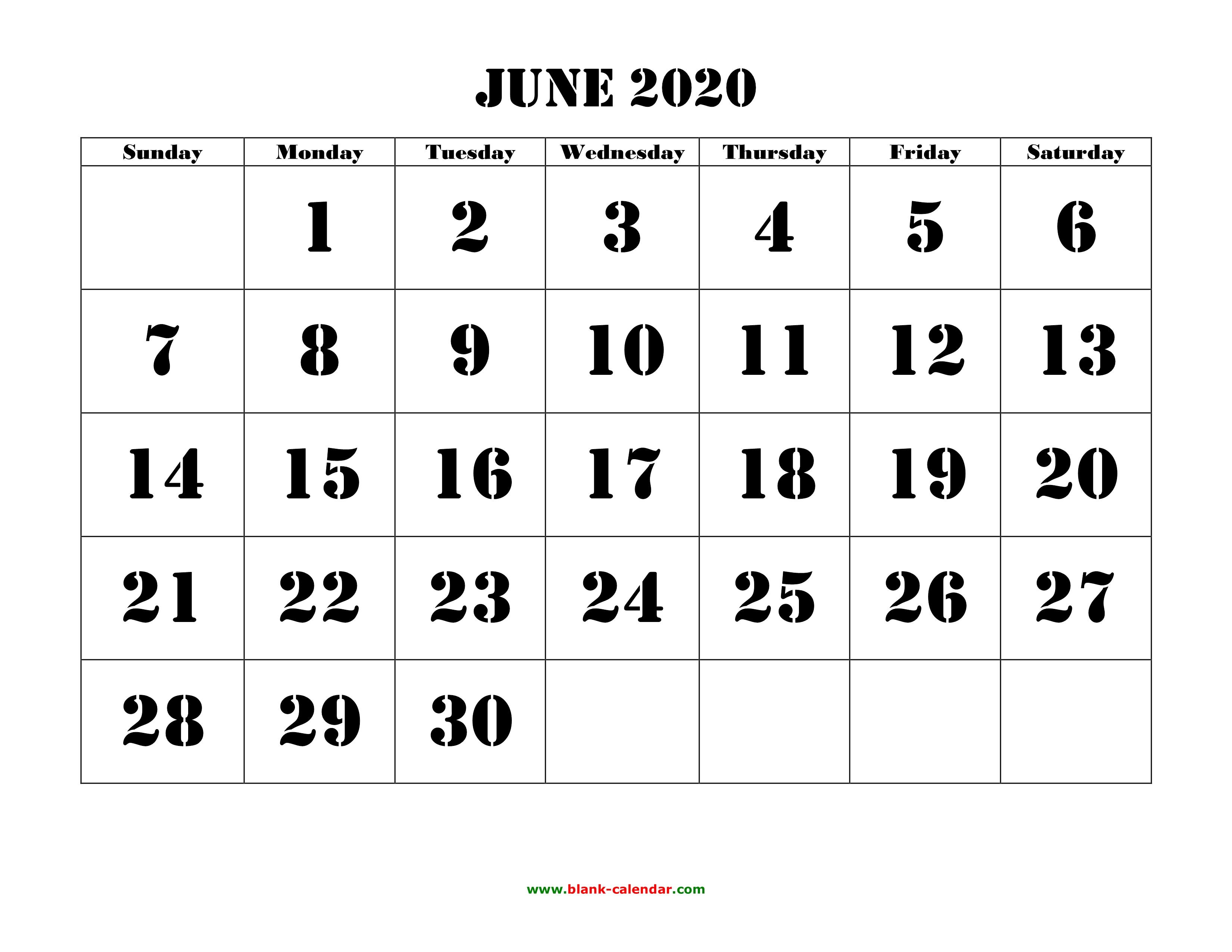 2020 Calendar June