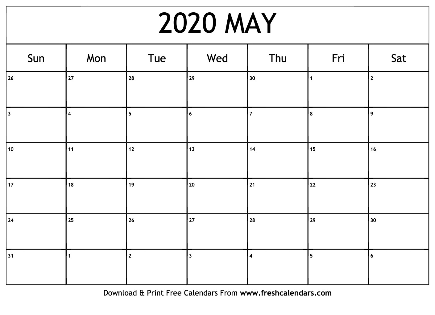 2020 Calendar May