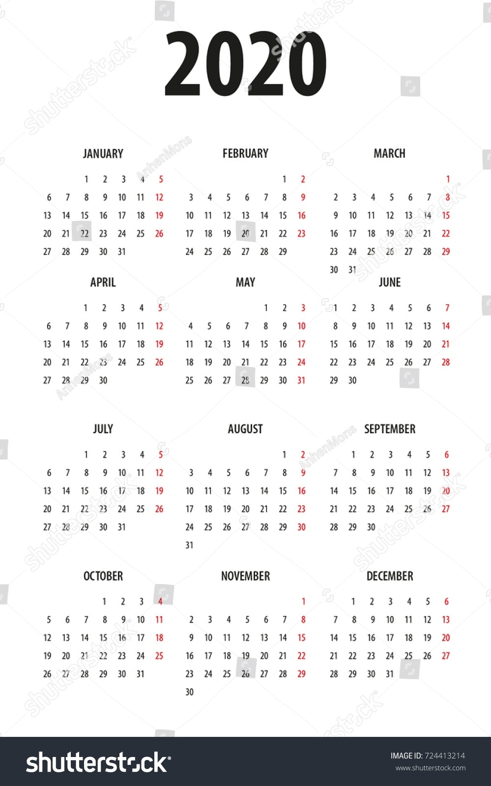 2020 Calendar Monday To Sunday