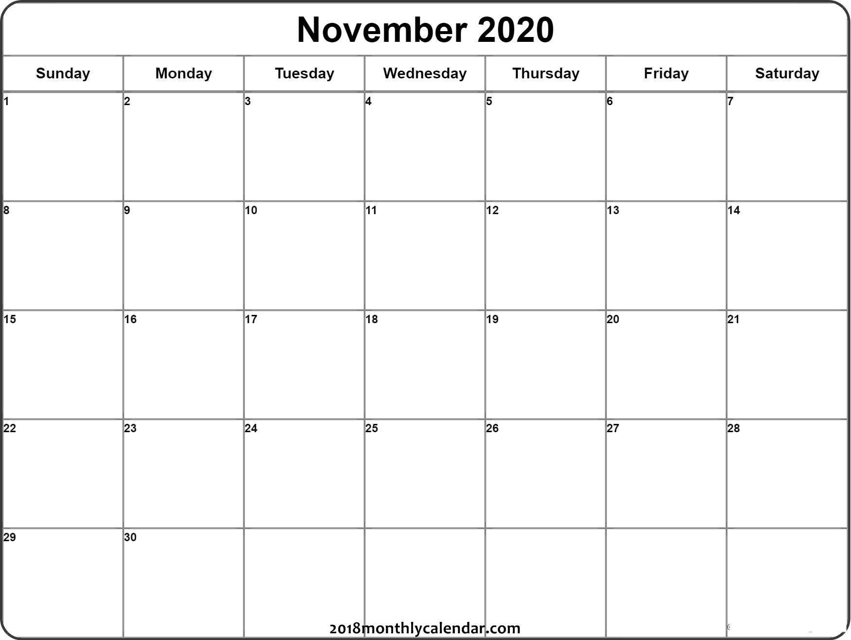 2020 Calendar November