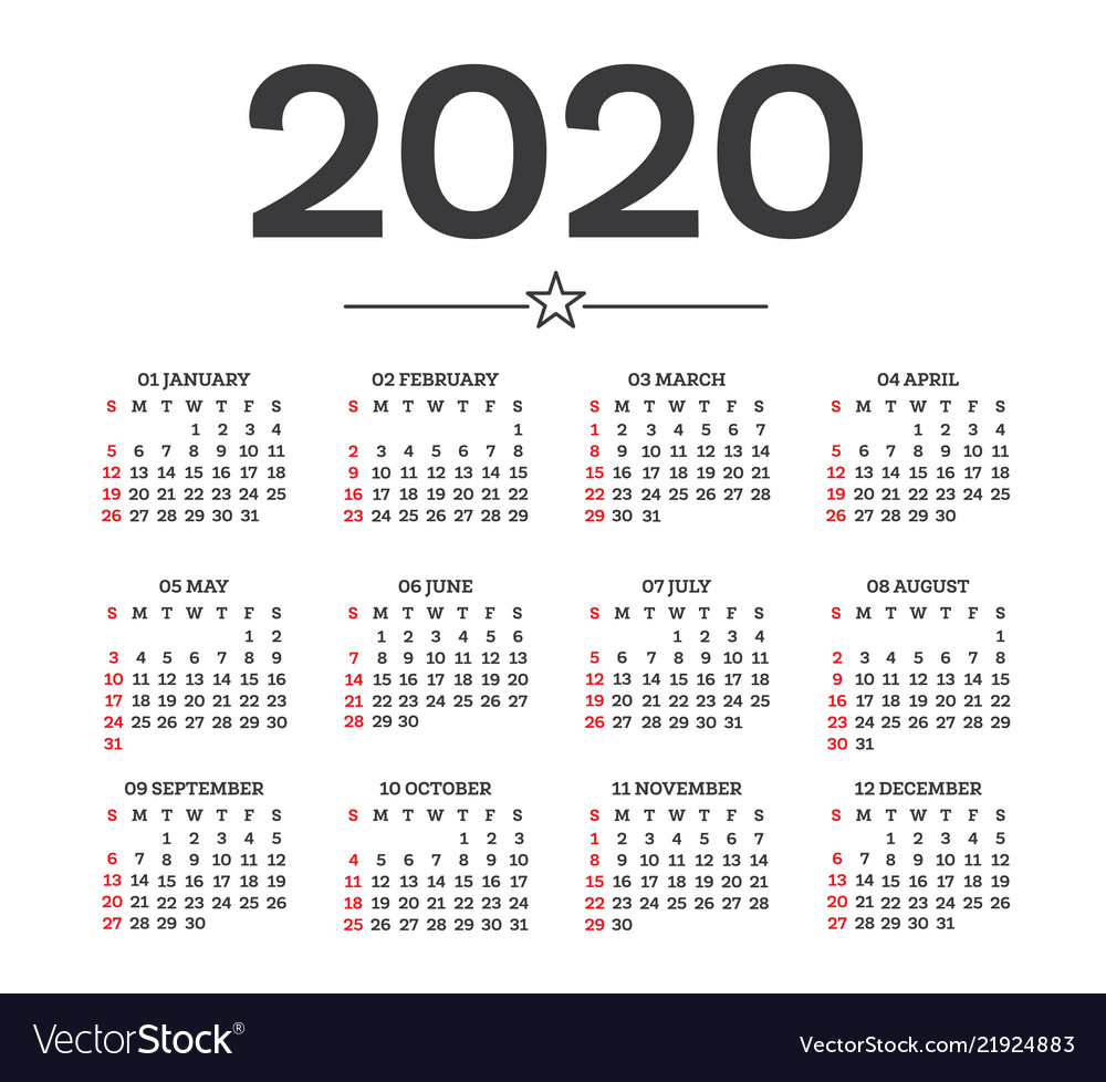 2020 Calendar Numbered Weeks