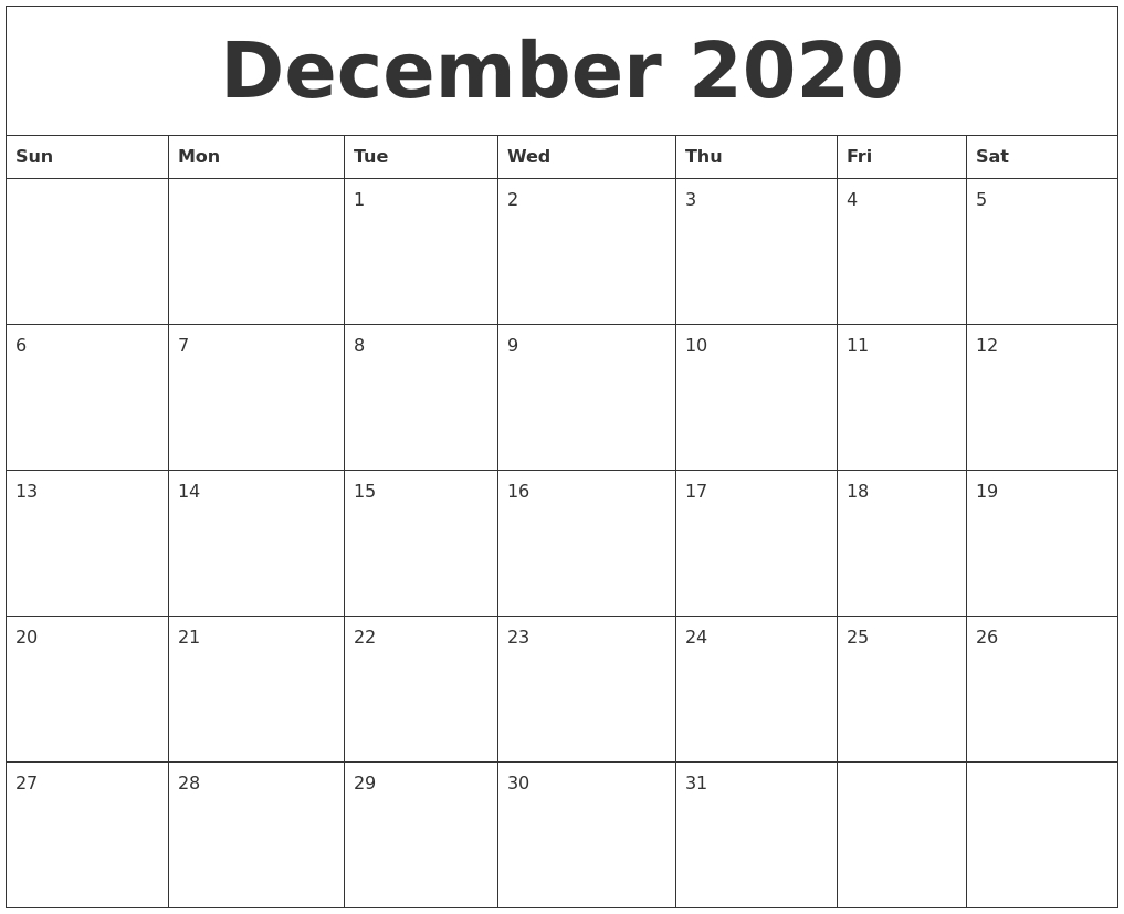 2020 Calendar Online