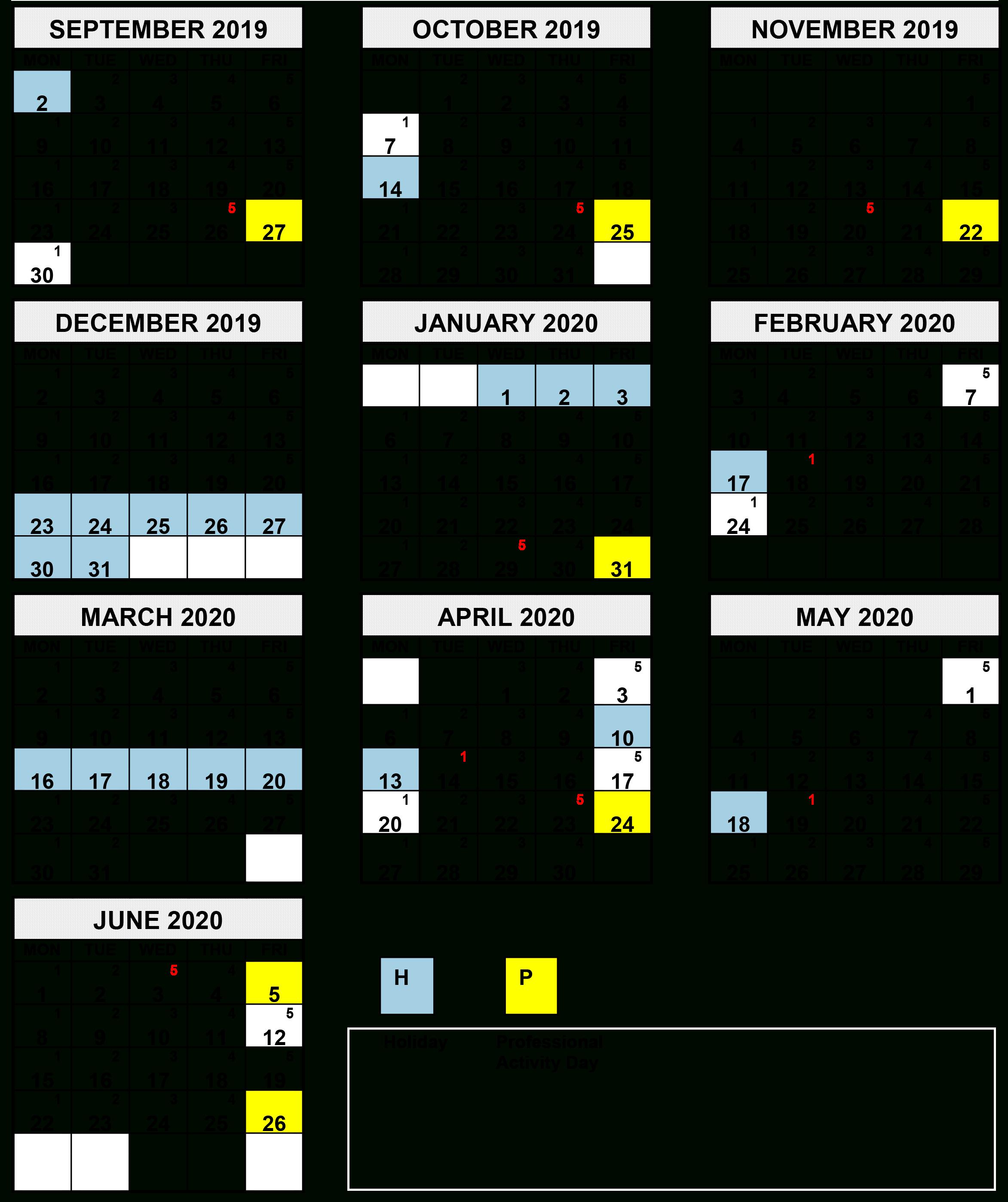 2020 Calendar Ontario