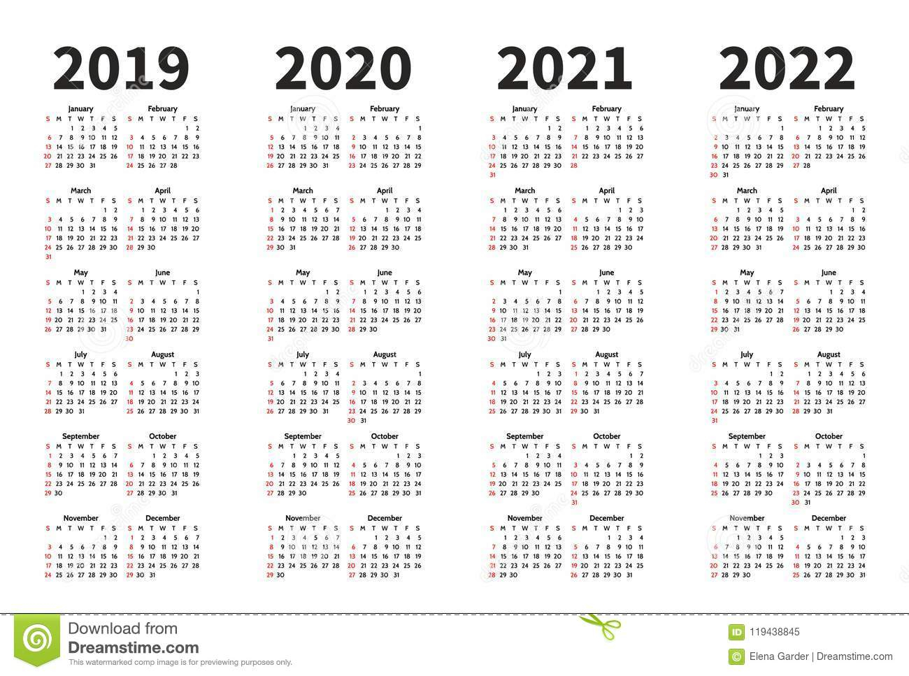 2020 Calendar Portrait