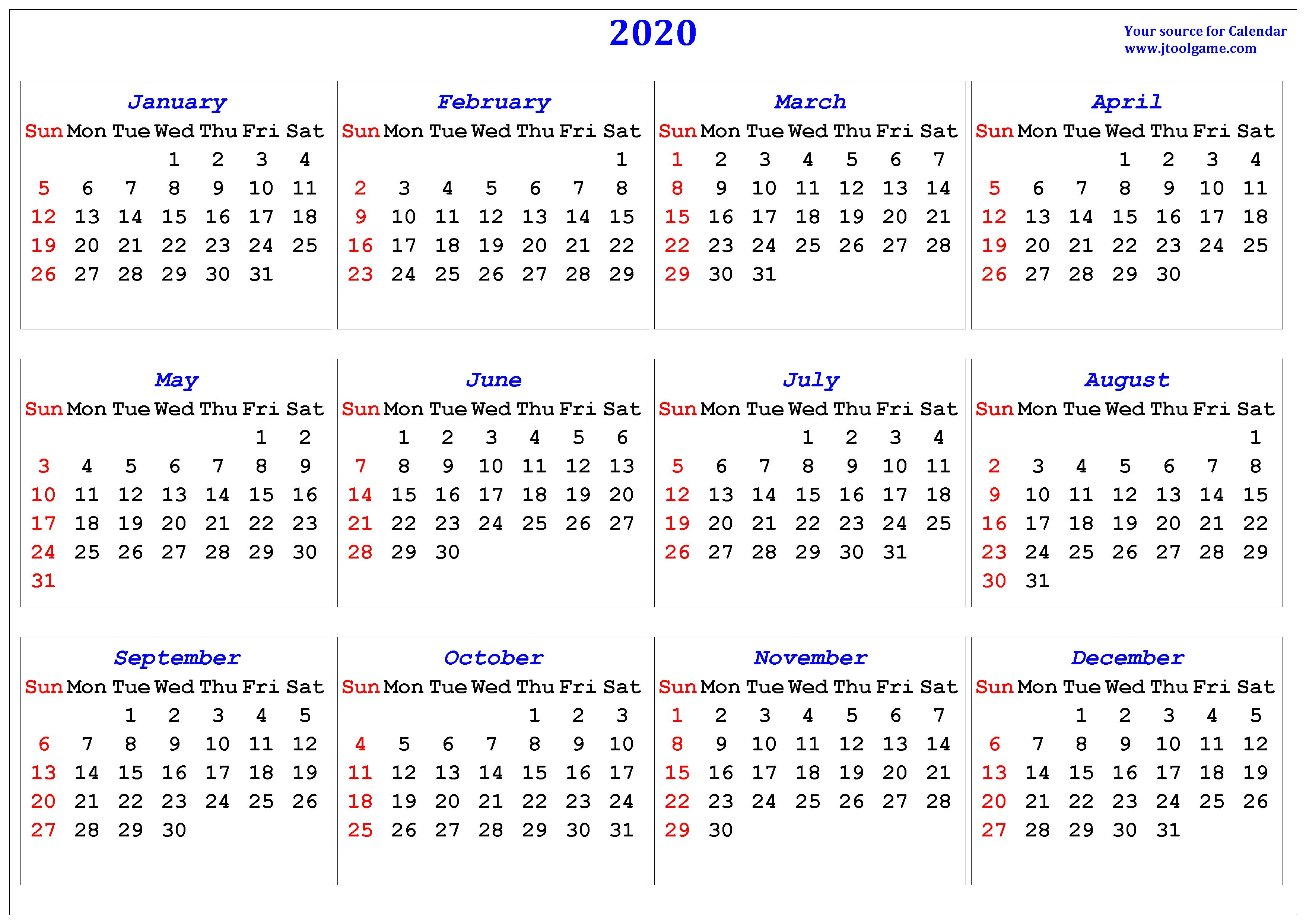 2020 Calendar - Printable Calendar. 2020 Calendar In Multiple Colors