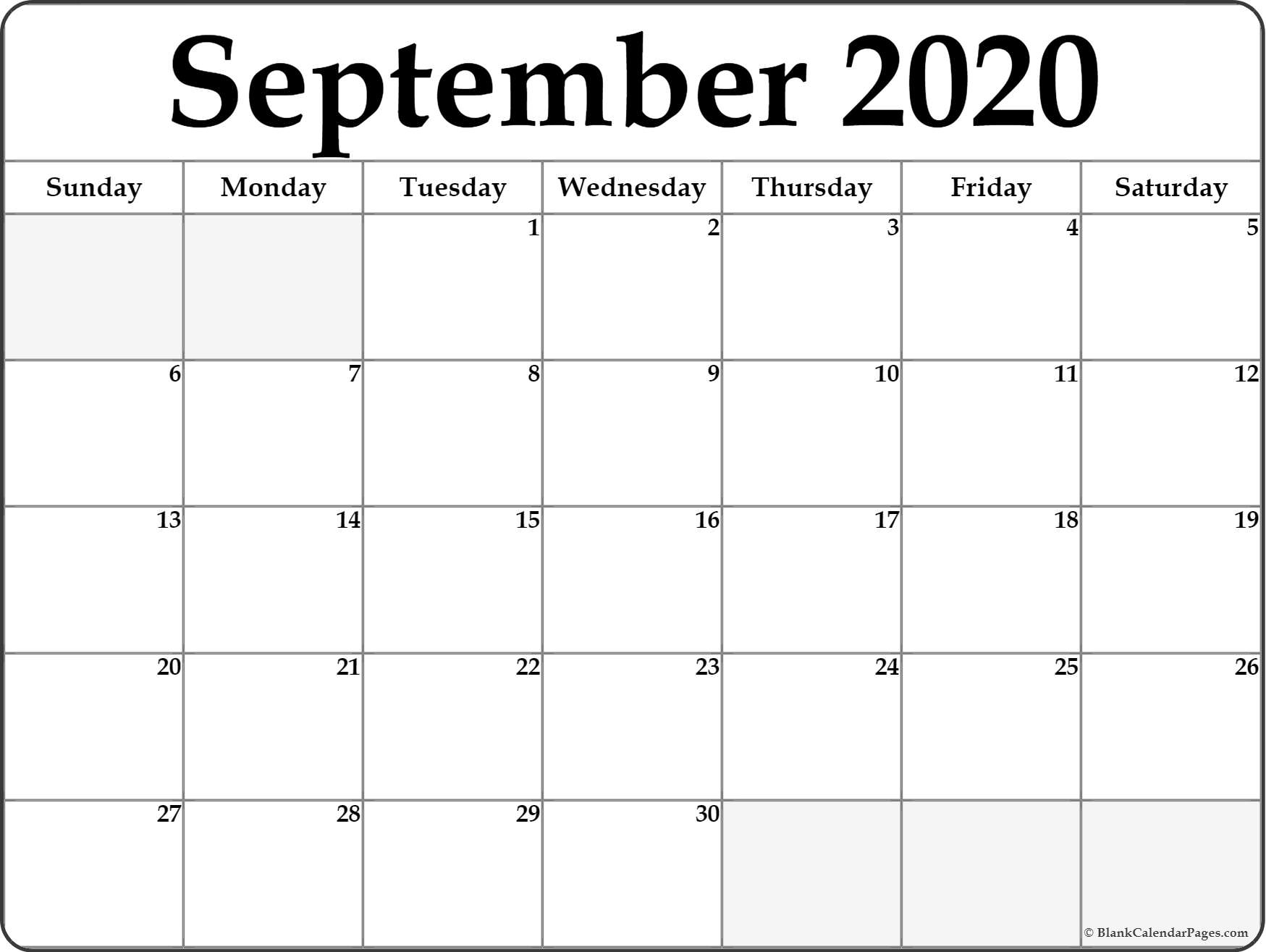 2020 Calendar September