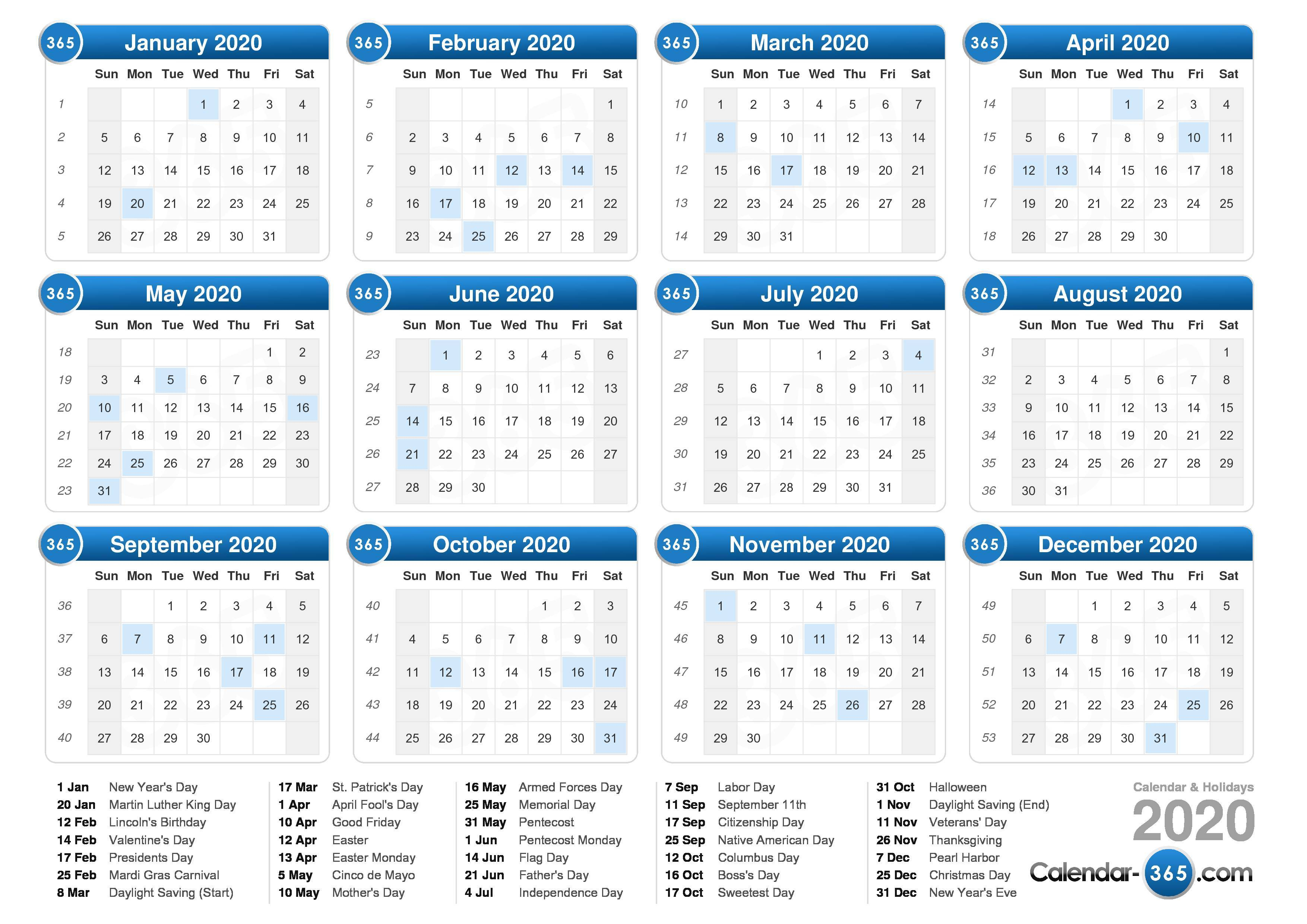 2020 Calendar Showing Holidays