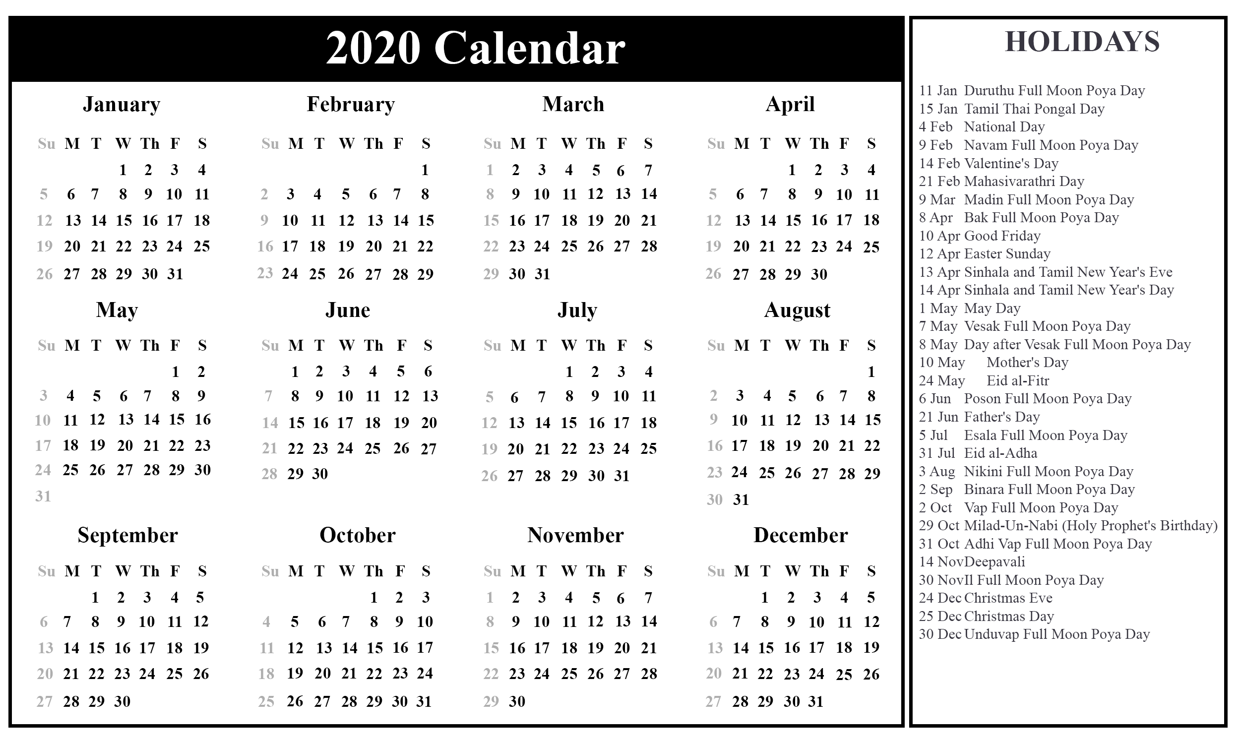 2020 Calendar Sri Lanka
