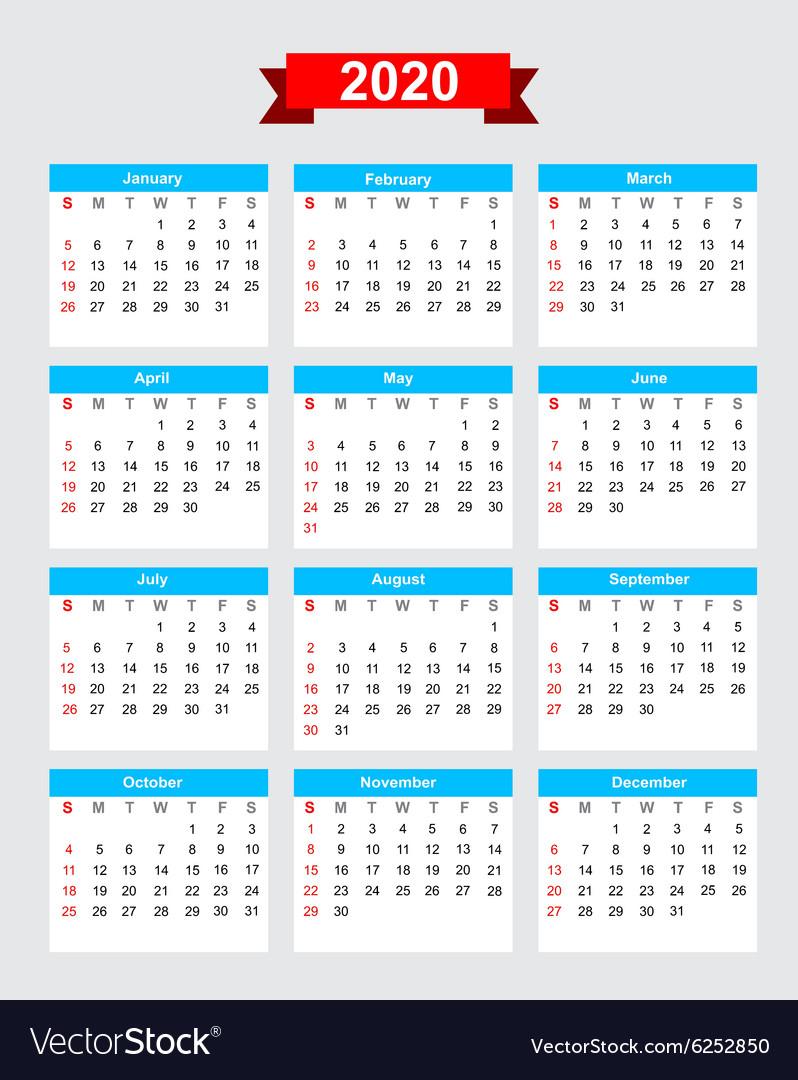 2020 Calendar Starting Monday